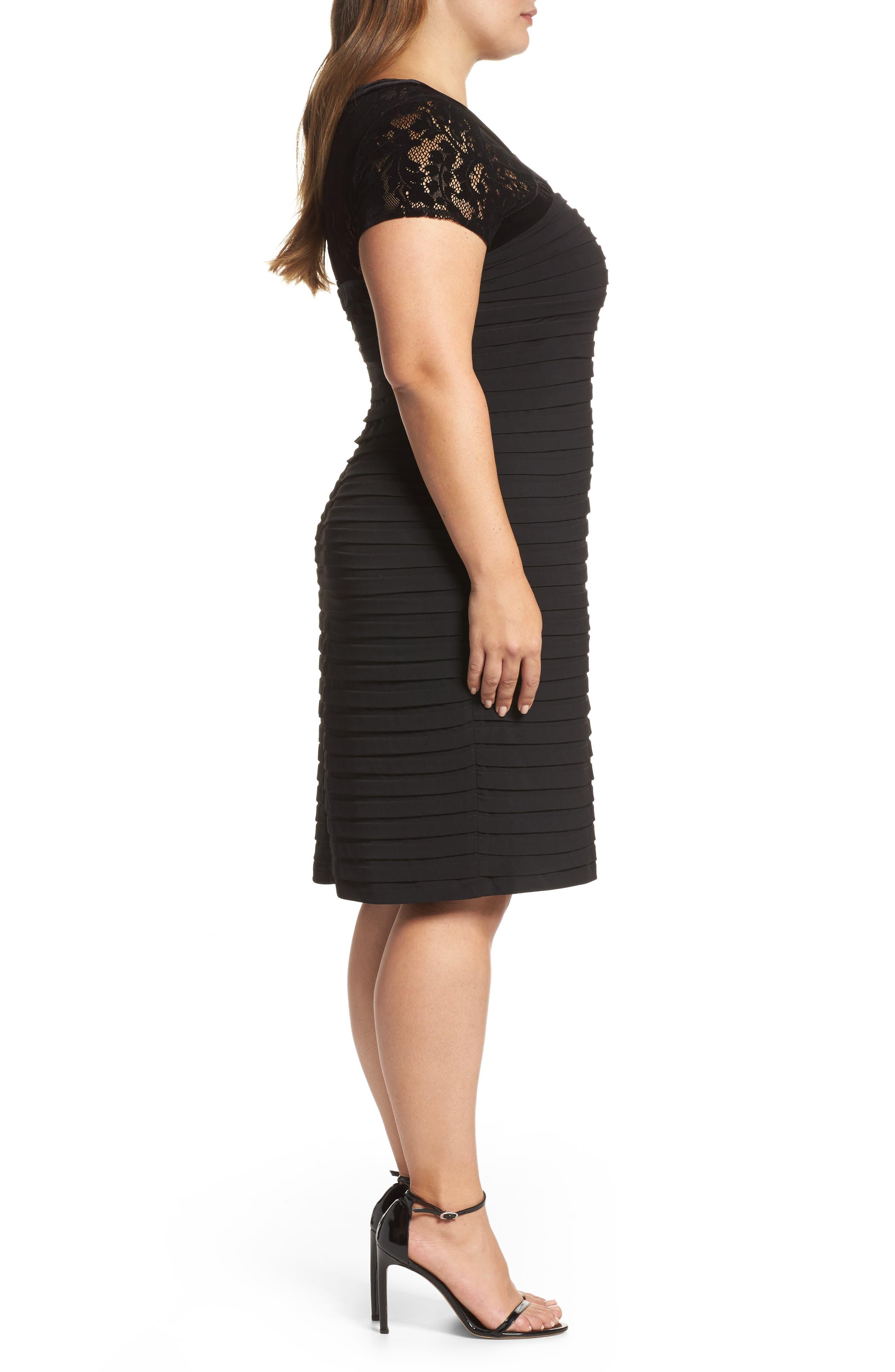Velvet Trim Sheath Dress,                             Alternate thumbnail 3, color,                             Black