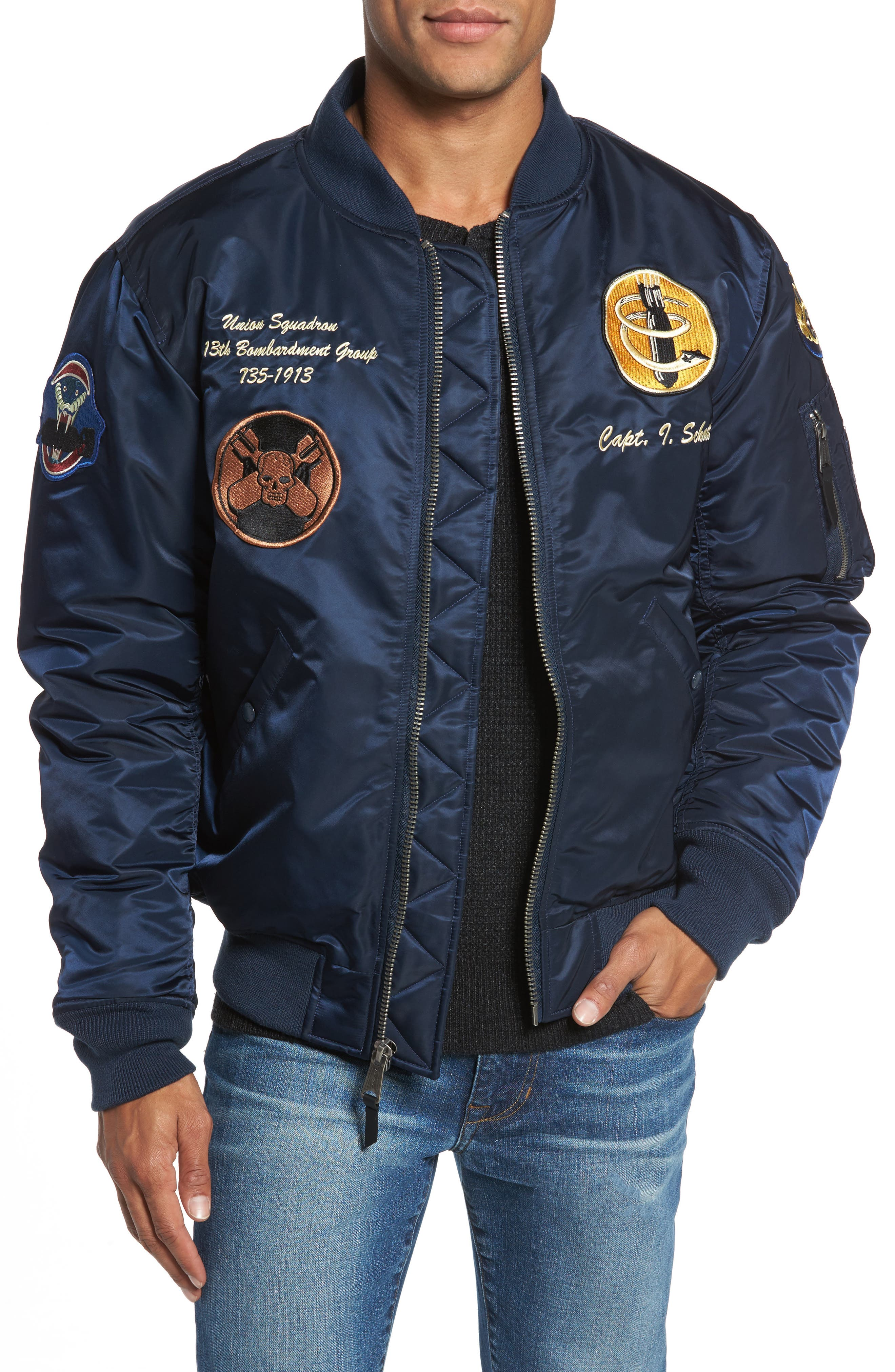 Alternate Image 1 Selected - Schott NYC Highly Decorated Embroidered Flight Jacket