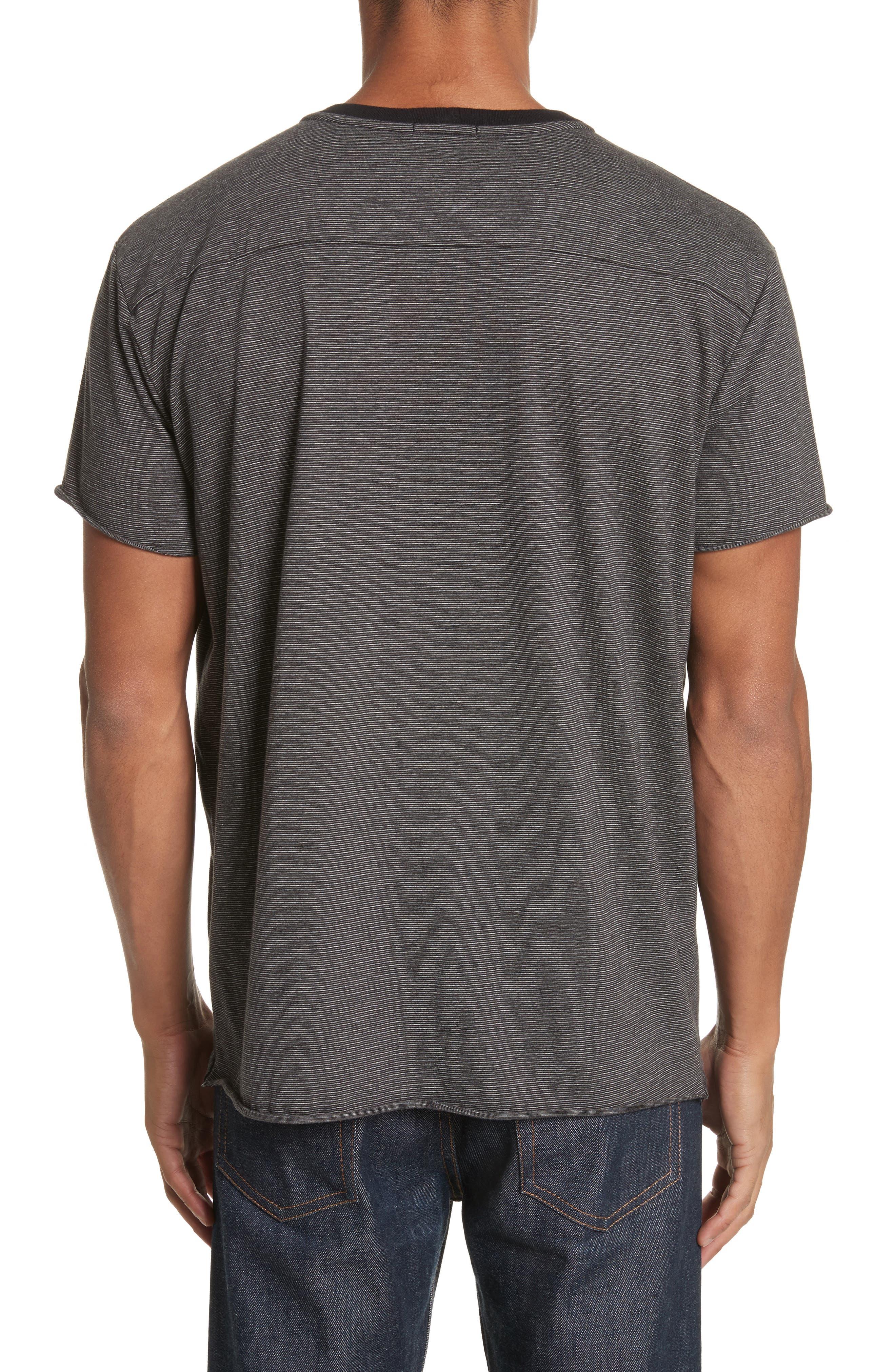 Oversize Stripe Pocket T-Shirt,                             Alternate thumbnail 2, color,                             Black