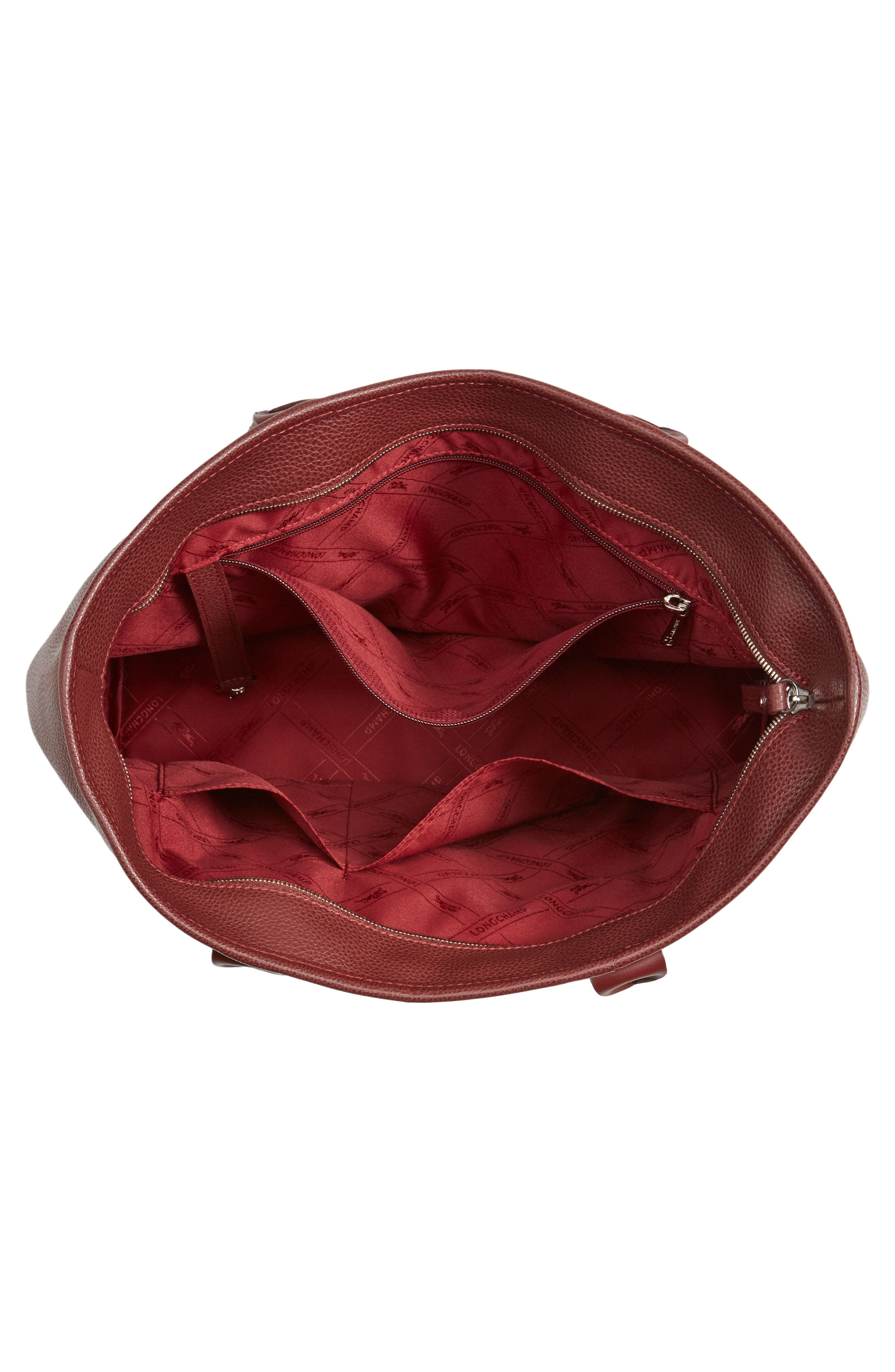 'Veau' Leather Tote,                             Alternate thumbnail 4, color,                             Red Lacquer