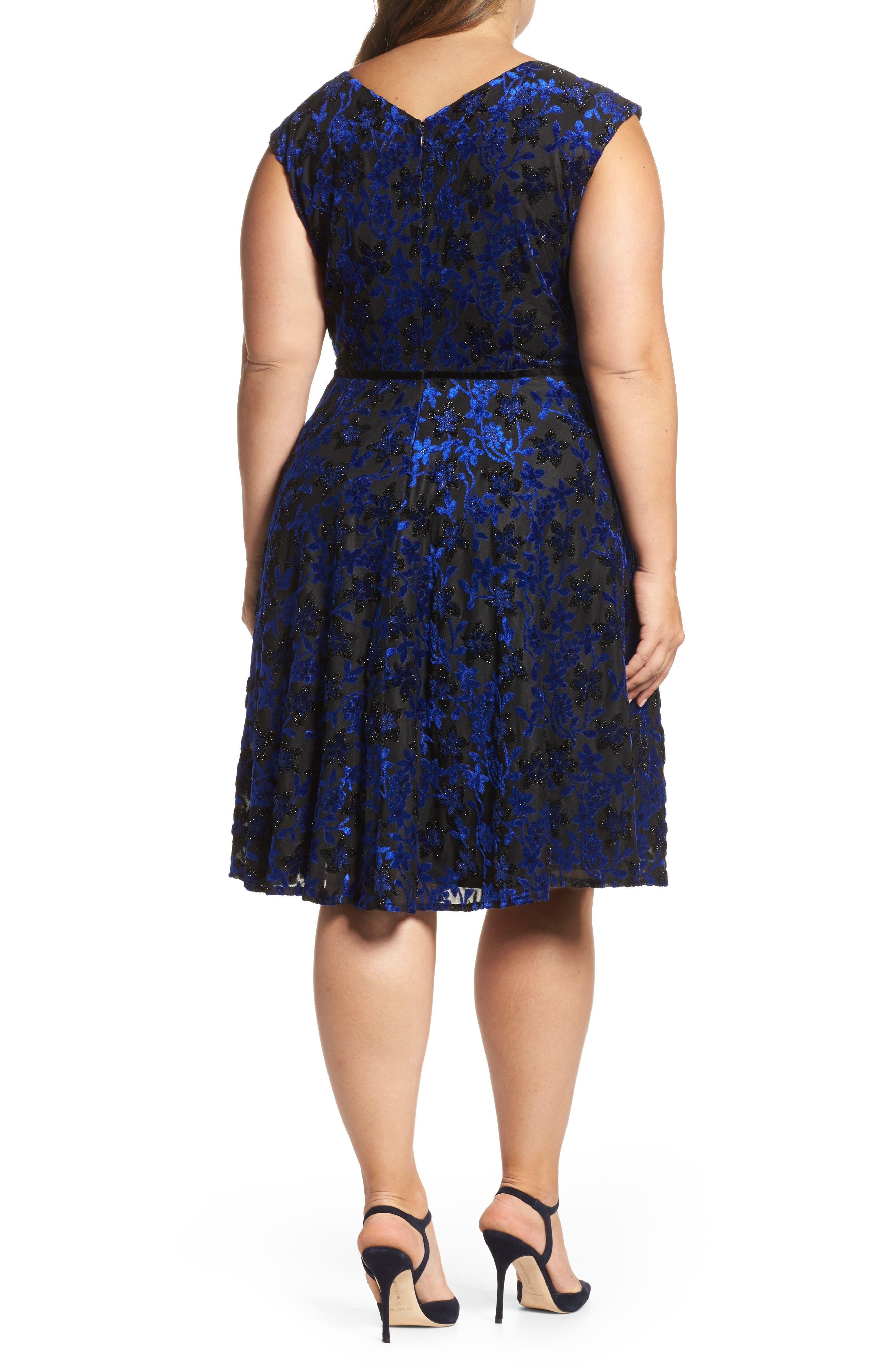 Alternate Image 2  - Tahari Burnout Velvet Fit & Flare Dress (Plus Size)