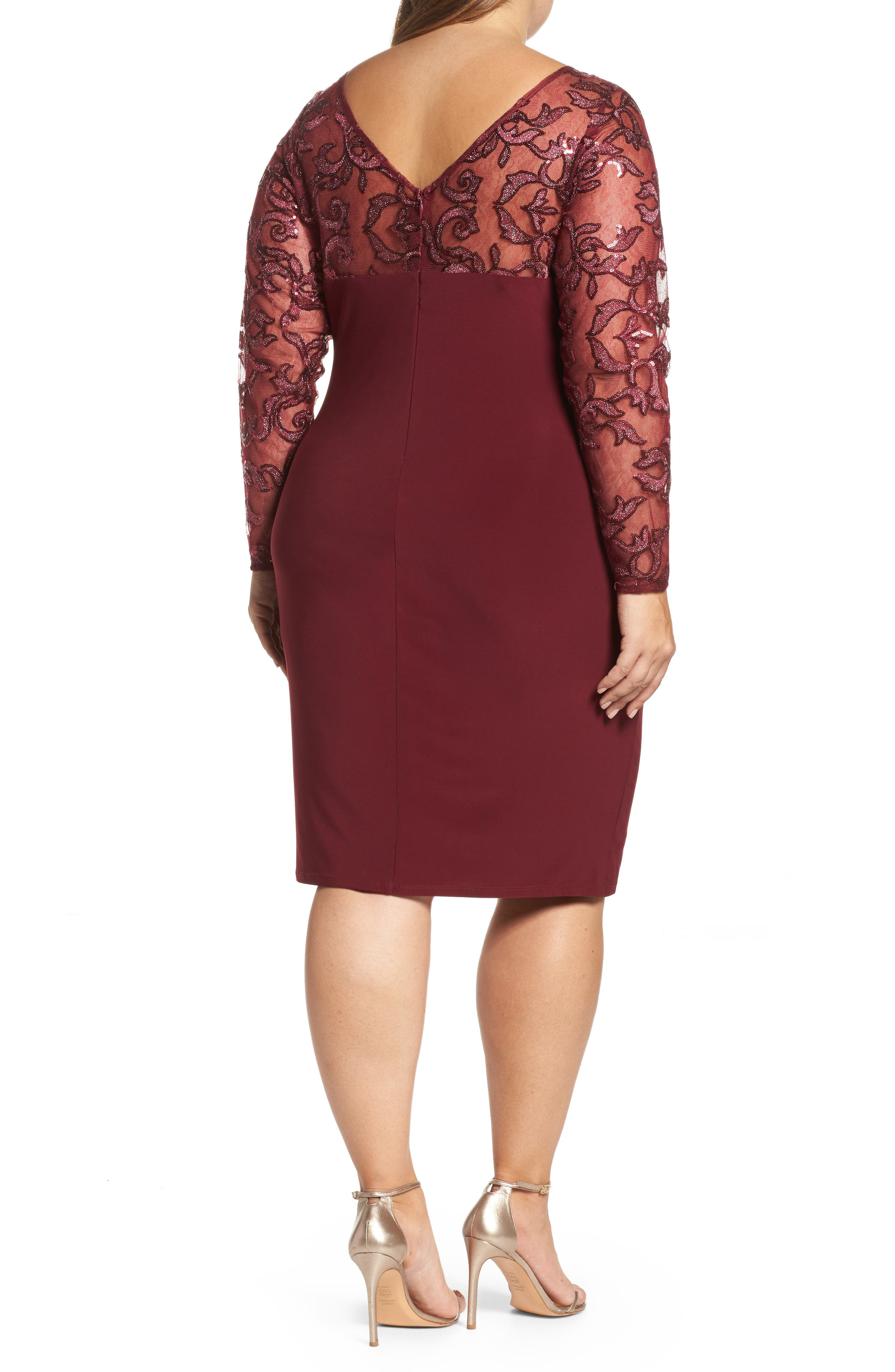 Alternate Image 2  - Marina Sequin Illusion & Jersey Side Ruched Sheath Dress (Plus Size)
