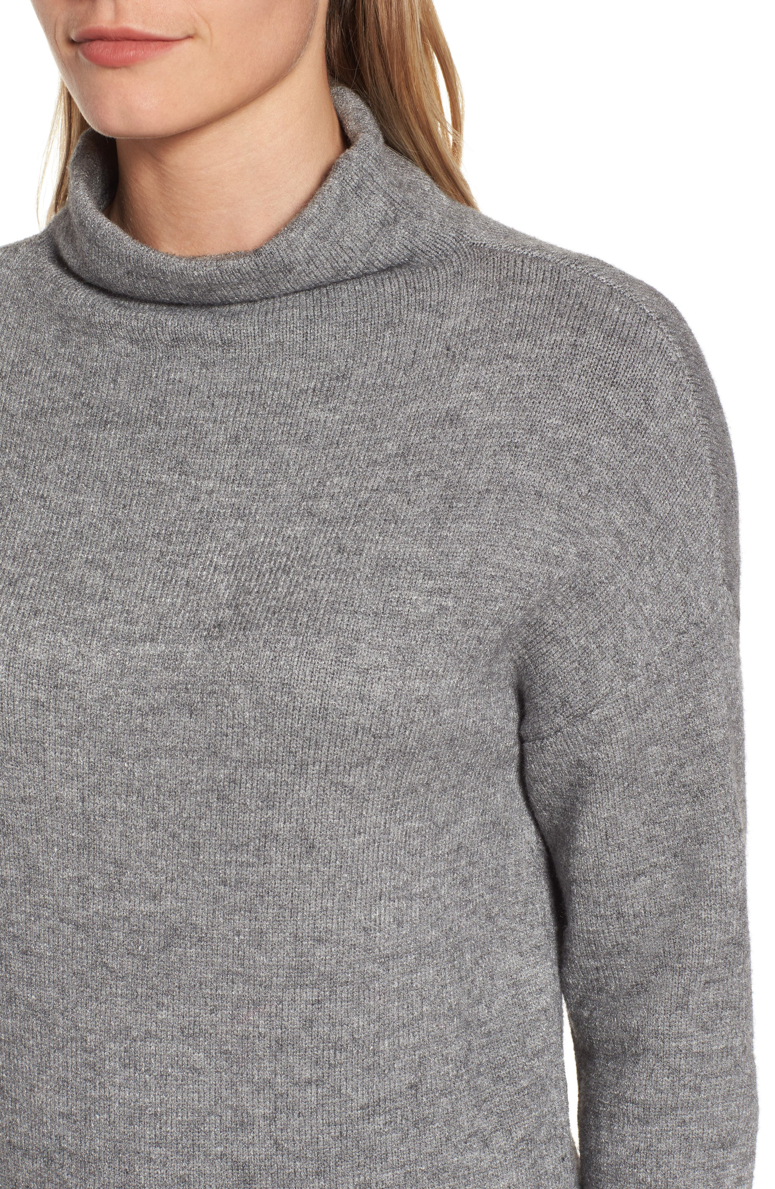 RD Style Funnel Neck Sweater,                             Alternate thumbnail 4, color,                             Grey