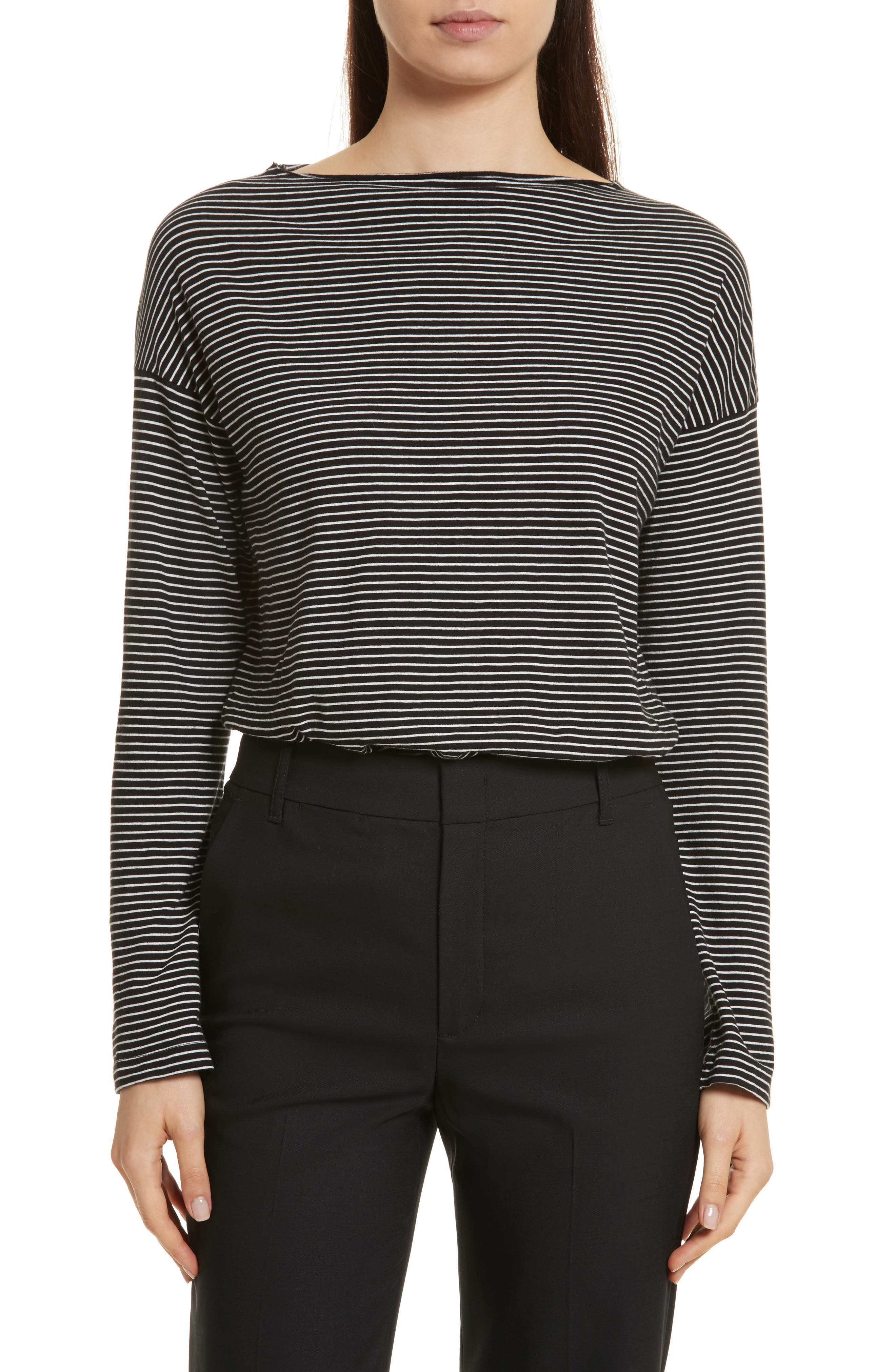 Stripe Boatneck Tee,                             Main thumbnail 1, color,                             Black/ Vanilla