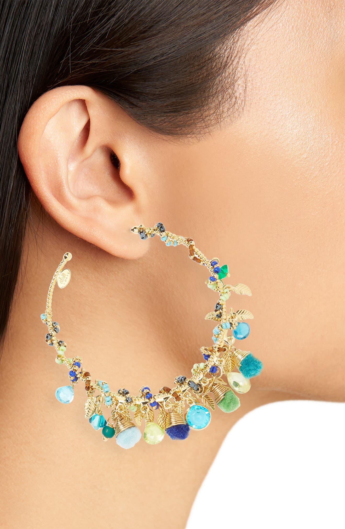 Folia Hoop Earrings,                             Alternate thumbnail 2, color,                             Blue Green/ Gold