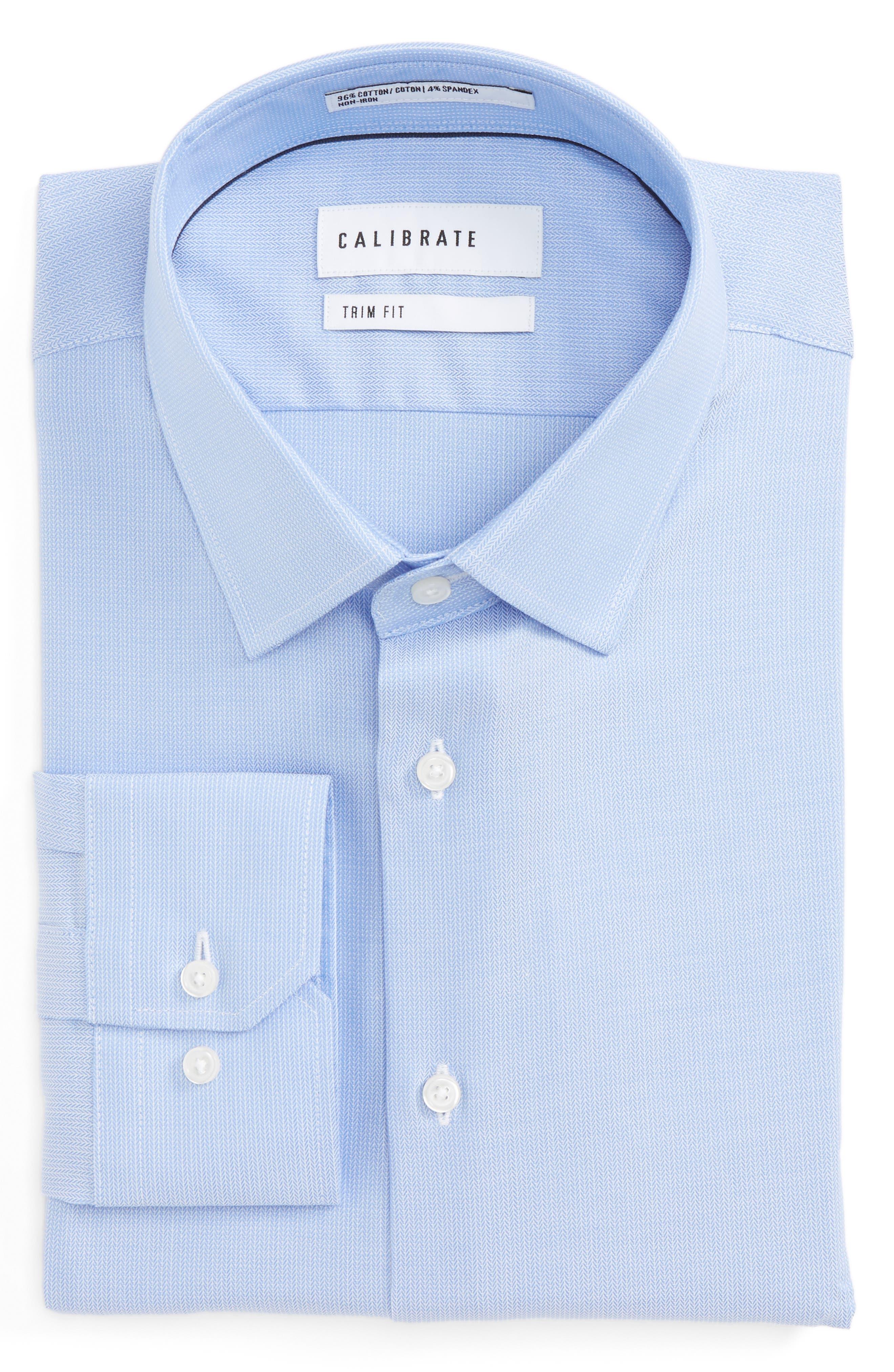 Trim Fit No-Iron Stretch Cotton Dress Shirt,                         Main,                         color, Blue Grapemist