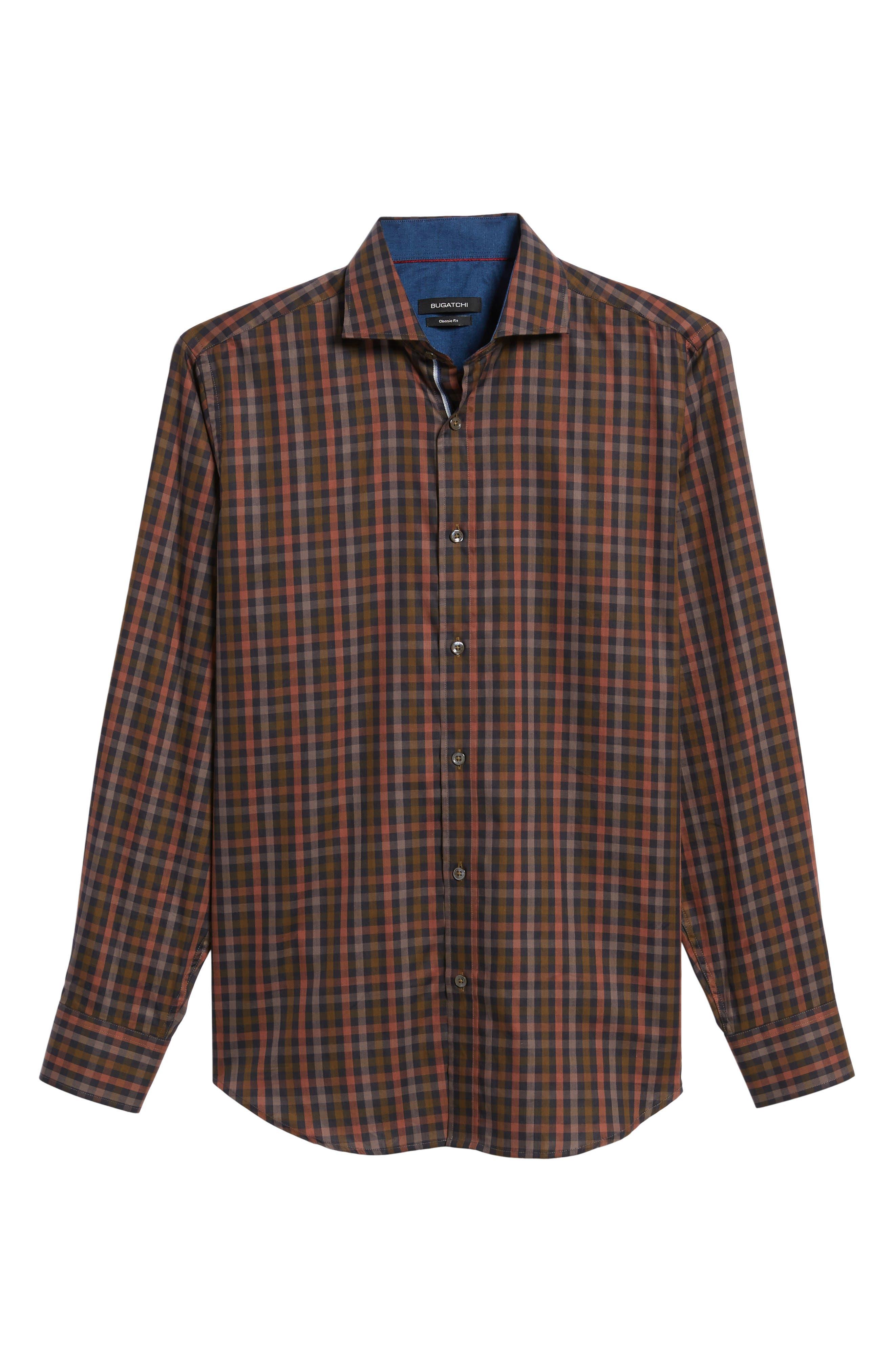 Classic Fit Check Twill Sport Shirt,                             Alternate thumbnail 6, color,                             Khaki