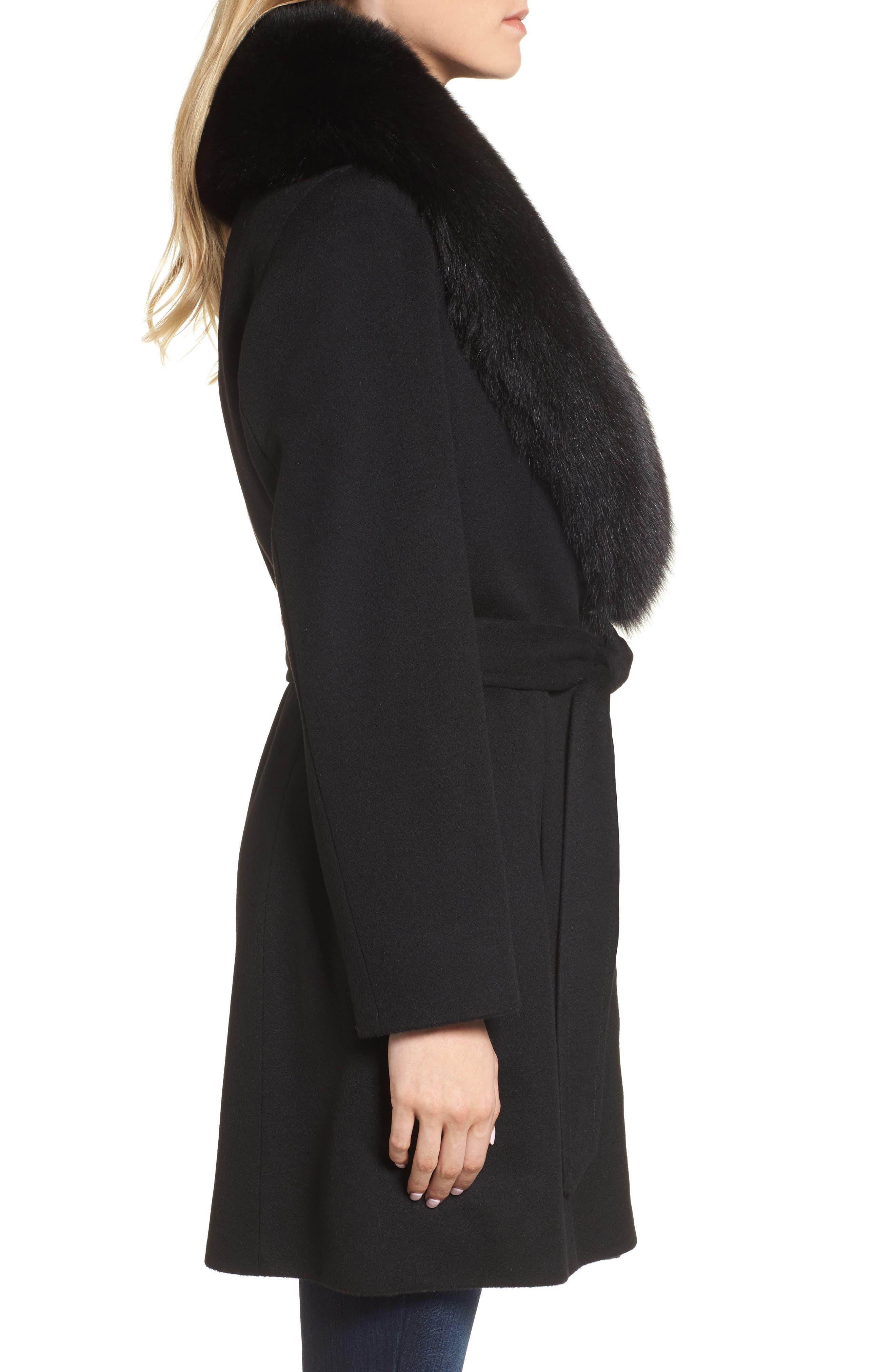 Genuine Fox Fur Lapel Wool & Cashmere Wrap Coat,                             Alternate thumbnail 3, color,                             Black