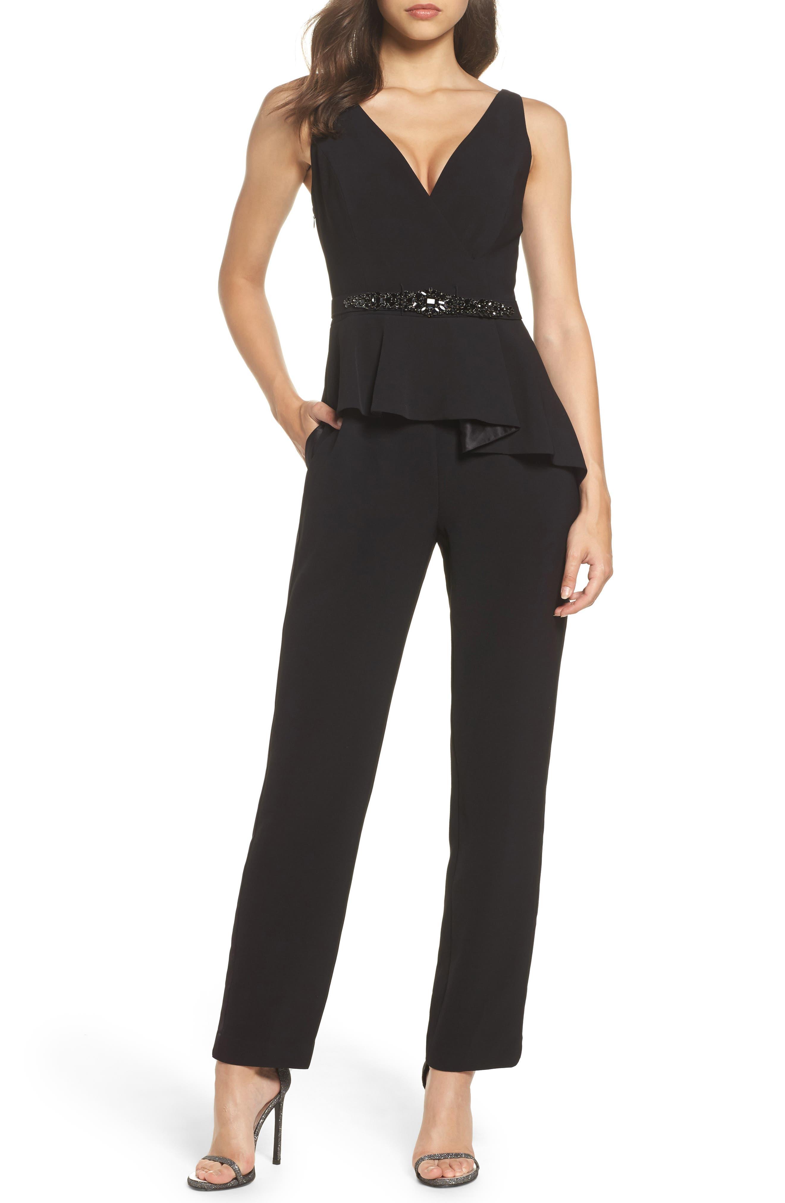 Embellished Belt Peplum Jumpsuit,                         Main,                         color, Black