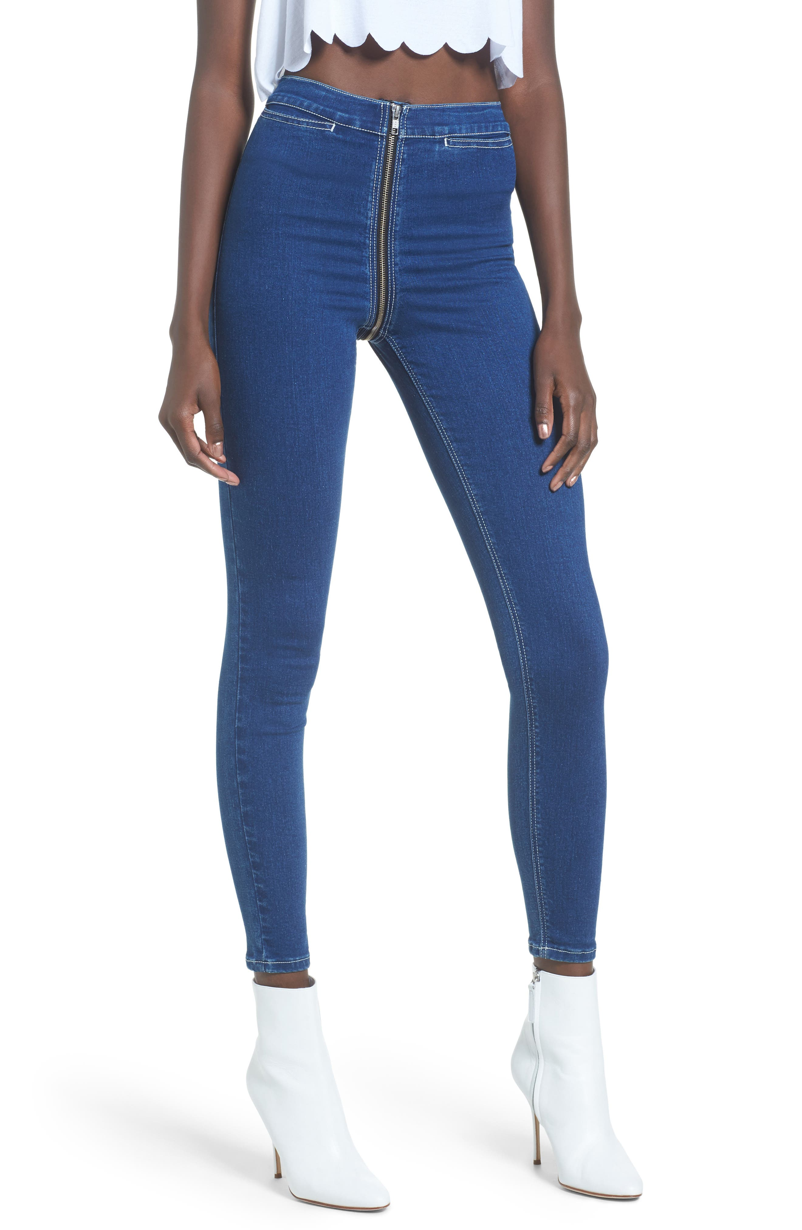 Topshop Joni Zip Around High Rise Super Skinny Jeans