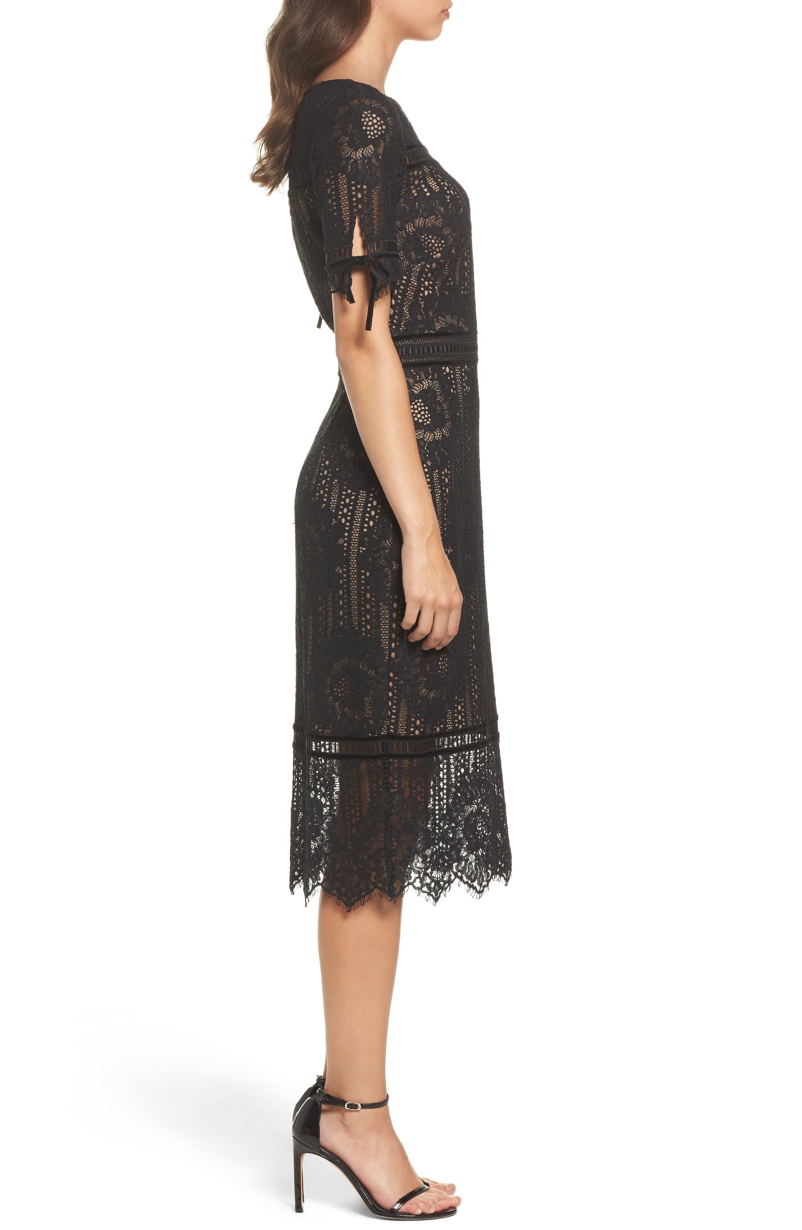 Velvet Trim Lace Sheath Dress,                             Alternate thumbnail 3, color,                             Black/ Nude