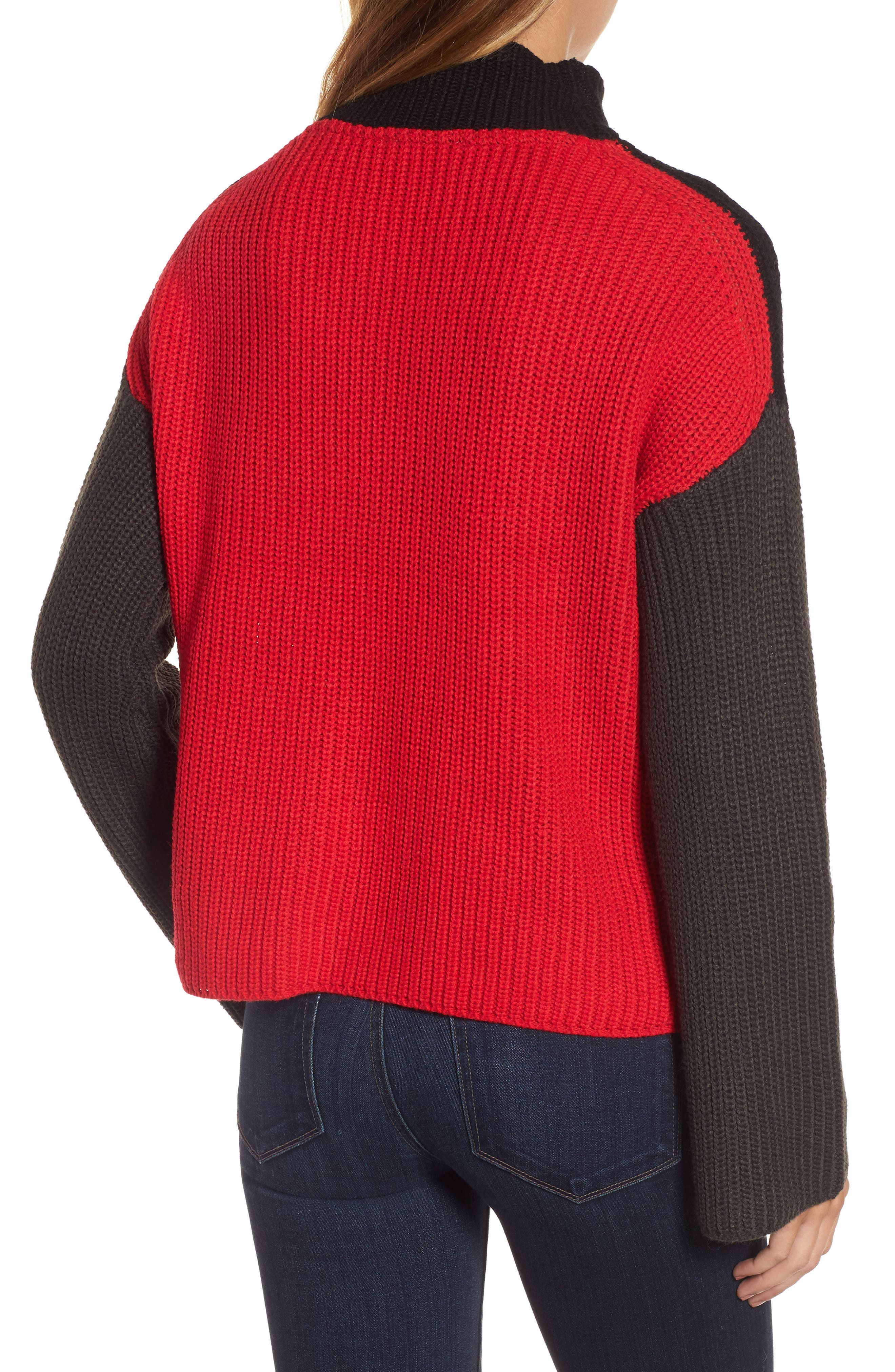 Colorblock Mock Turtleneck,                             Main thumbnail 1, color,                             Black/ Grey/ Red