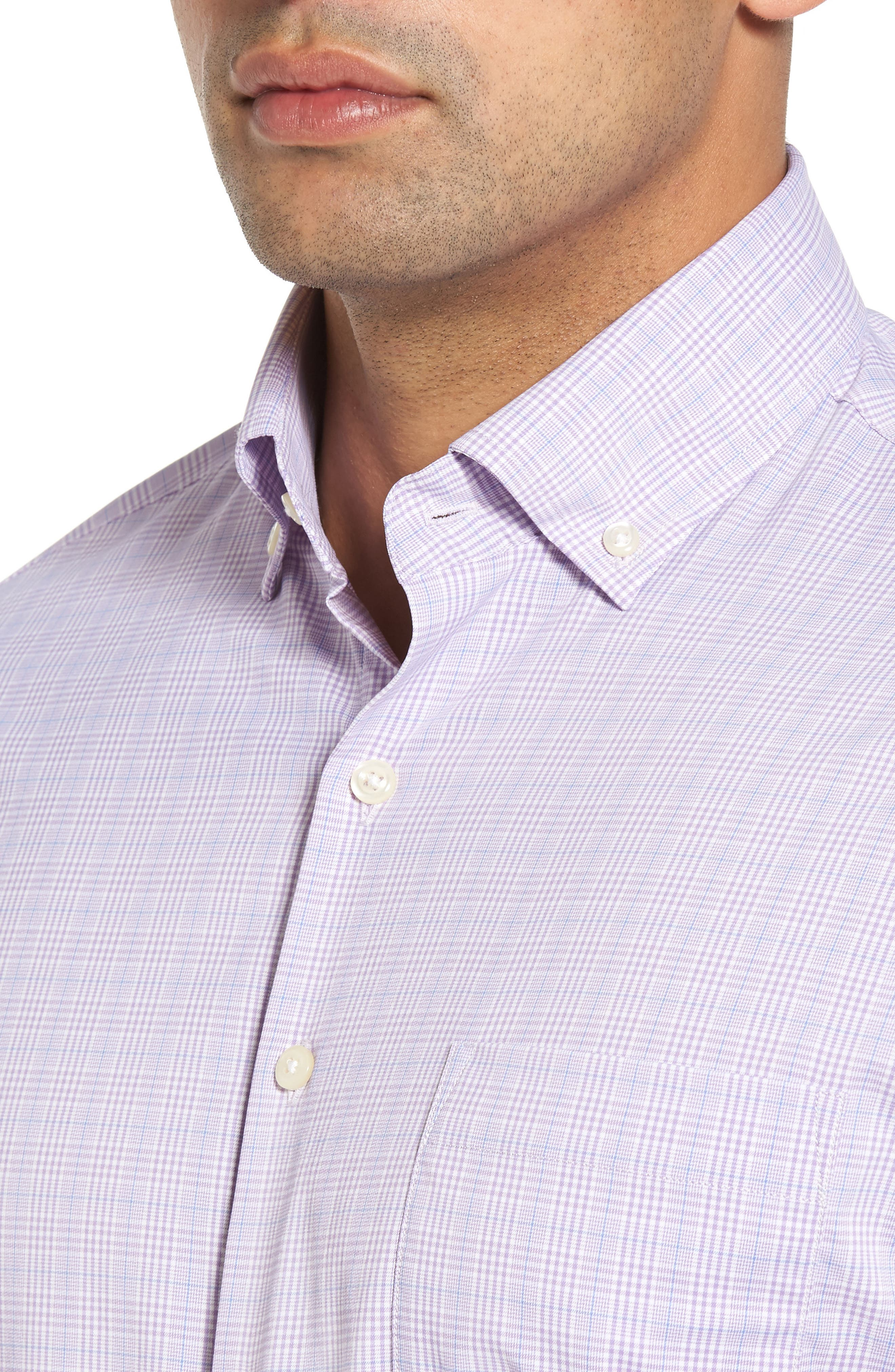 McConnell Plaid Regular Fit Performance Sport Shirt,                             Alternate thumbnail 4, color,                             Muscadine