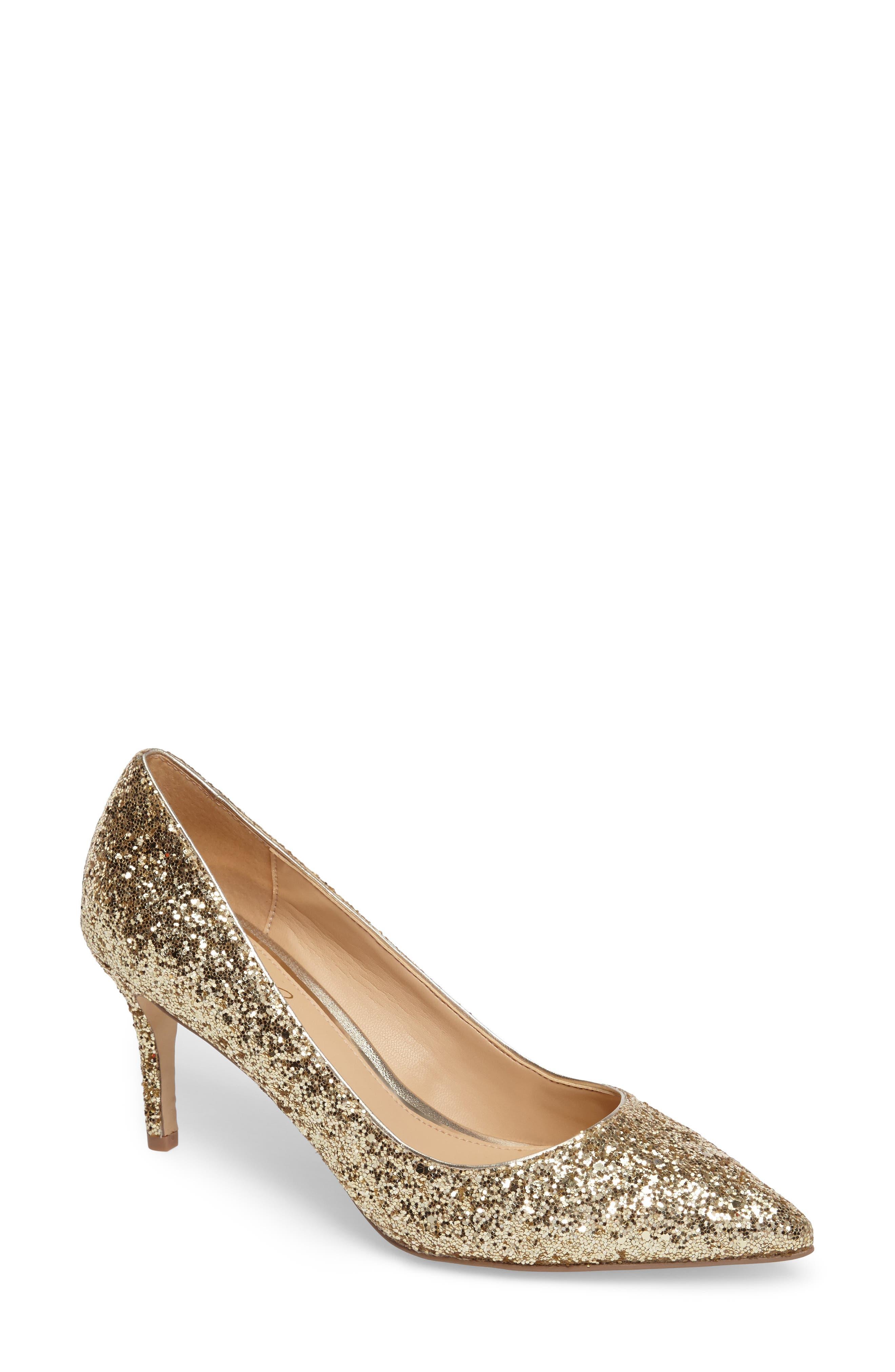 Lyla Glitter Pointy Toe Pump,                         Main,                         color, Gold