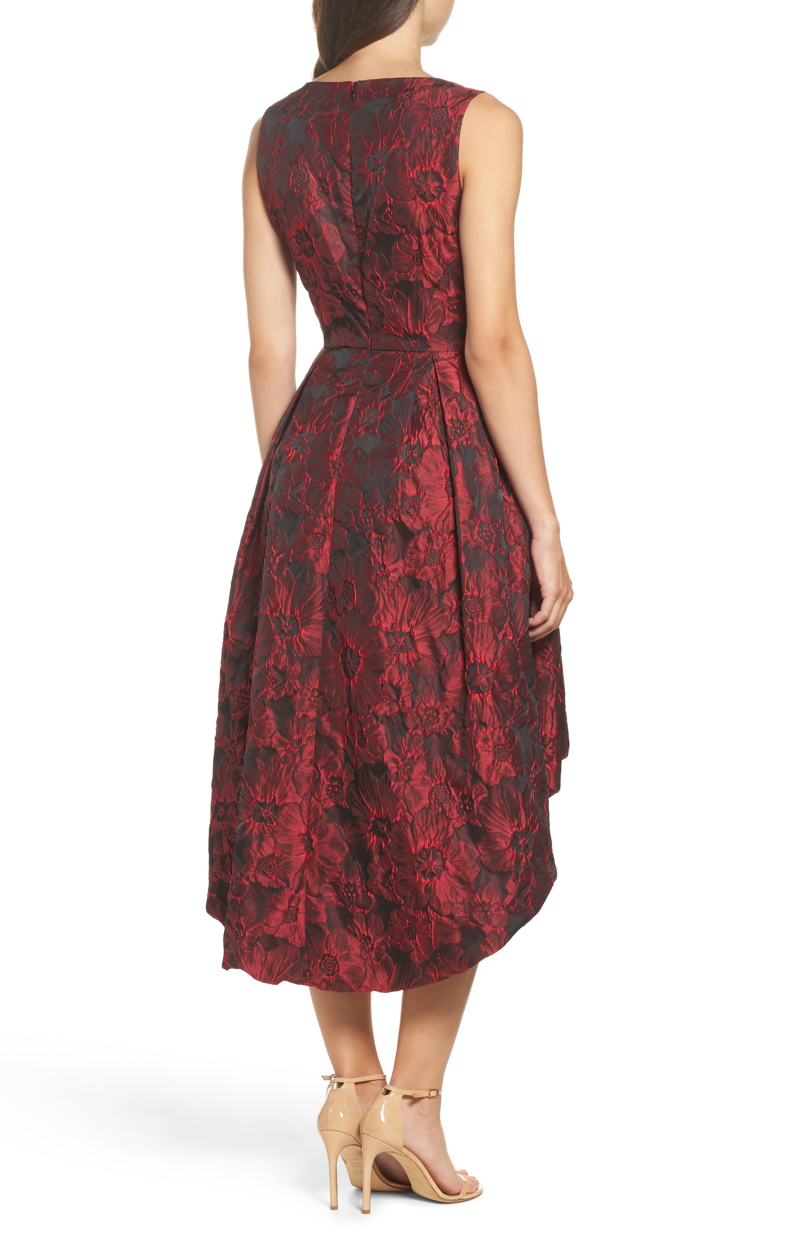Jacquard High/Low Dress,                             Alternate thumbnail 2, color,                             Red & Black
