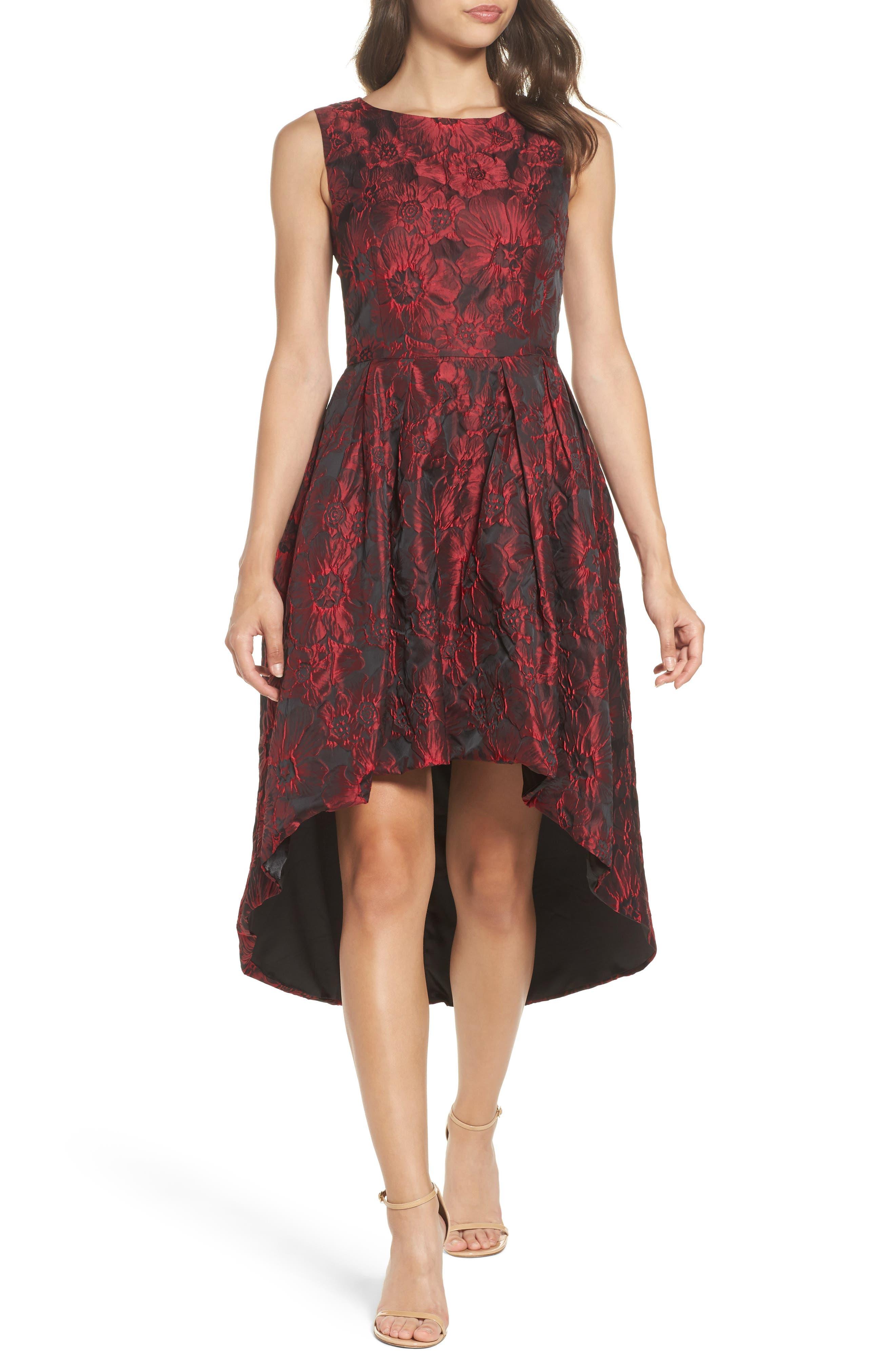 Jacquard High/Low Dress,                             Main thumbnail 1, color,                             Red & Black