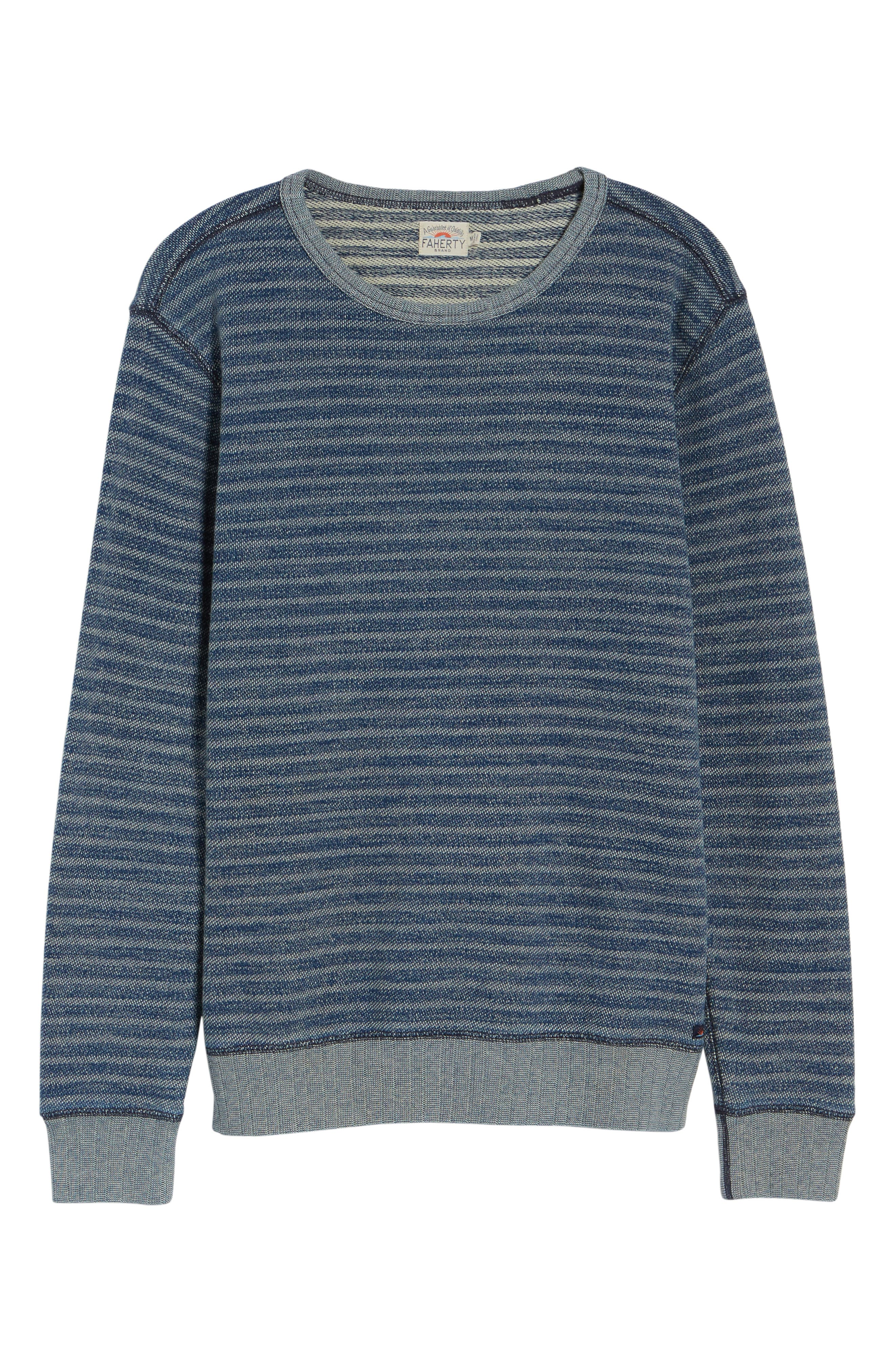 Main Image - Faherty Stripe Crewneck Sweatshirt