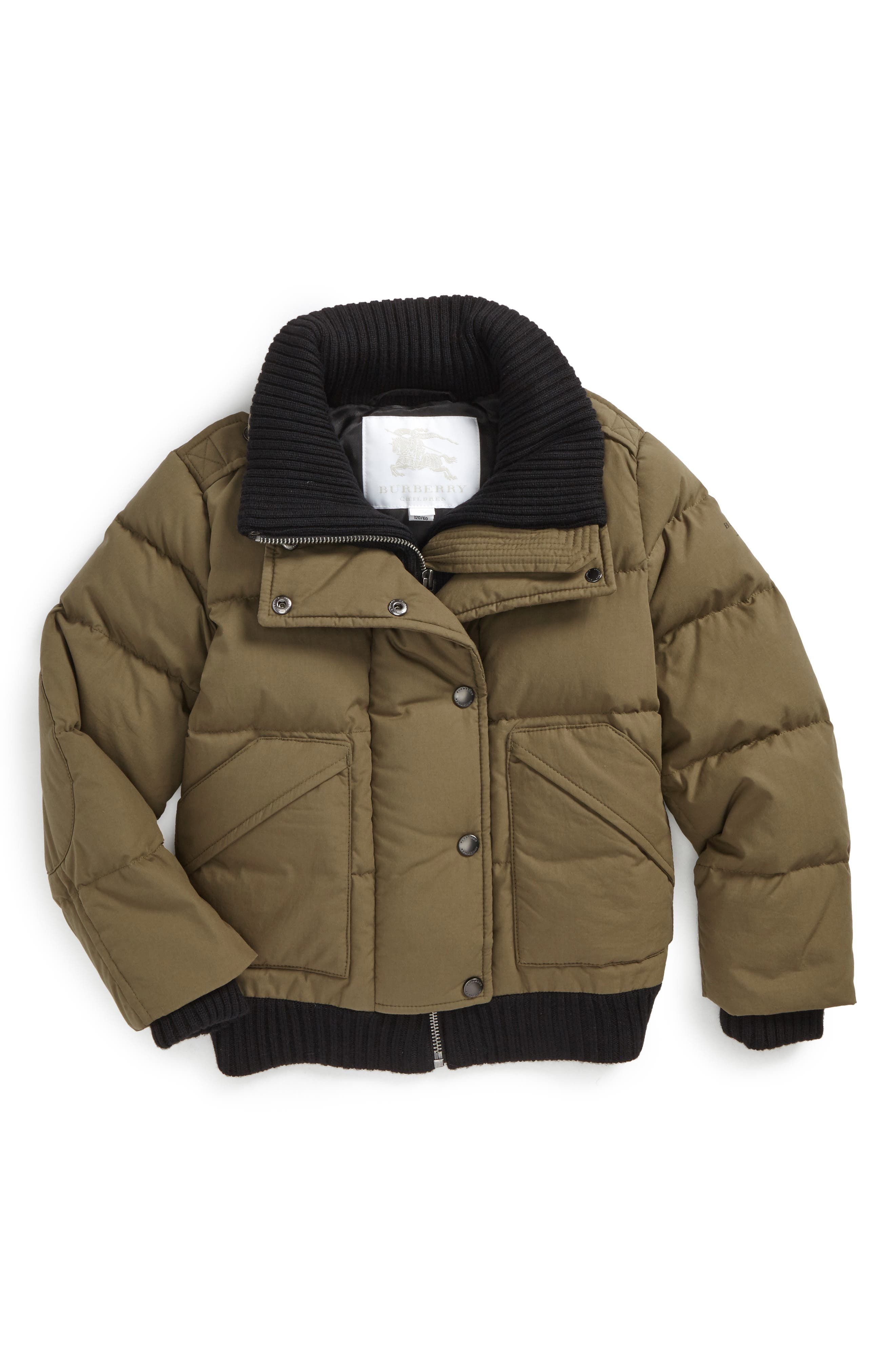 Bertha Quilted Down Jacket,                         Main,                         color, Olive Green