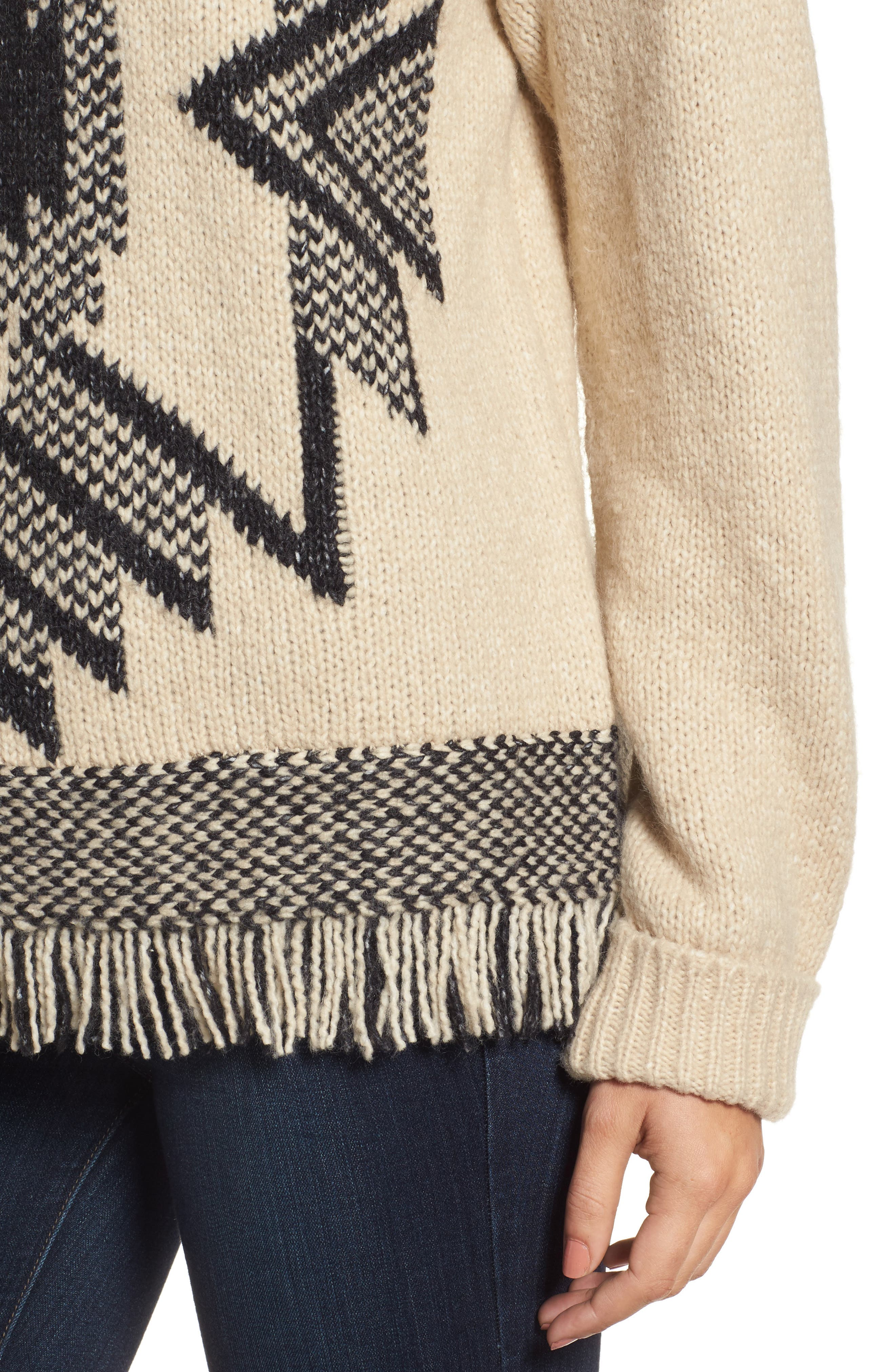 Fringe Sweater,                             Alternate thumbnail 4, color,                             Husked Tan