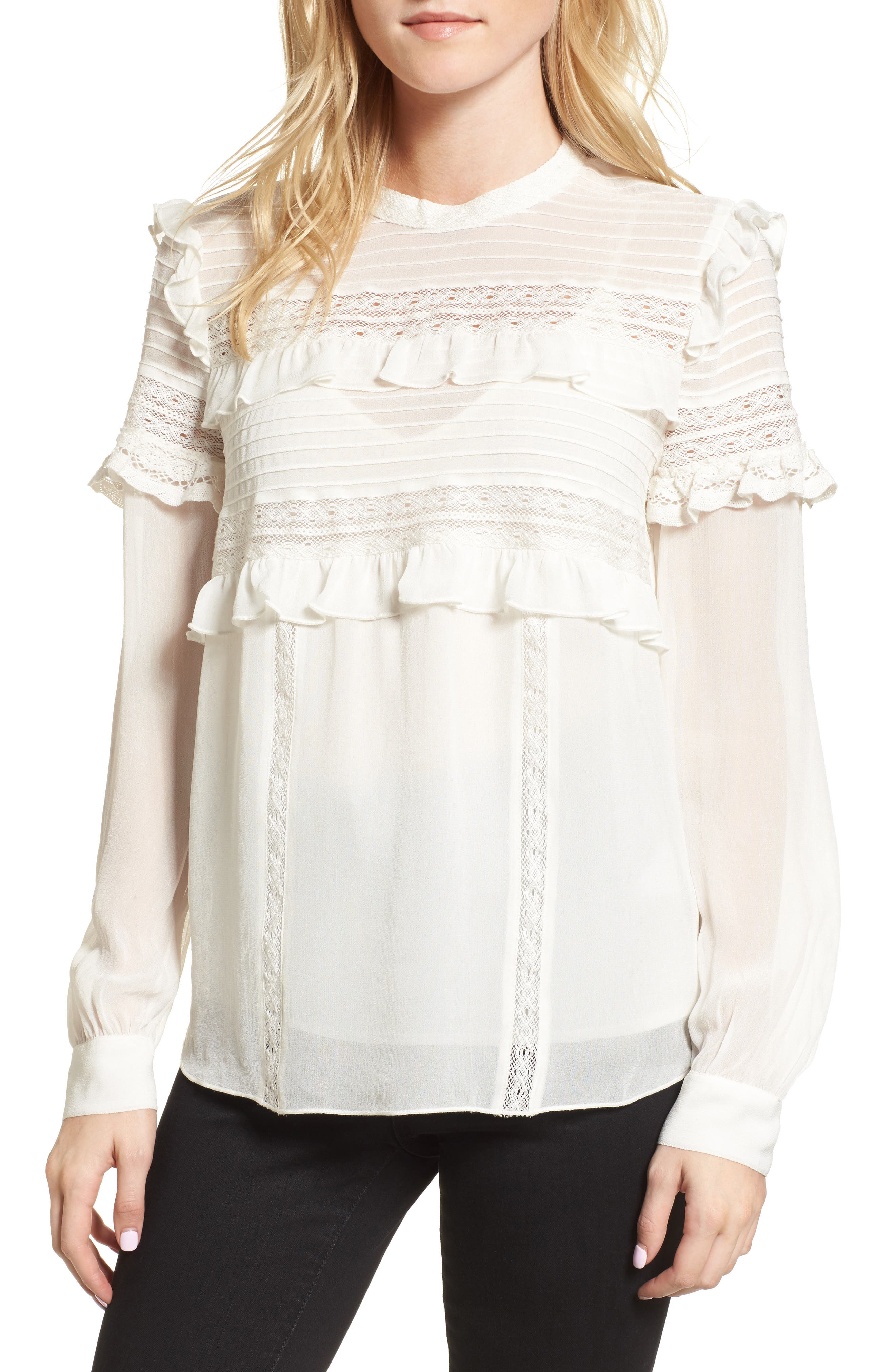 Ruffle Lace Top,                         Main,                         color, Ivory