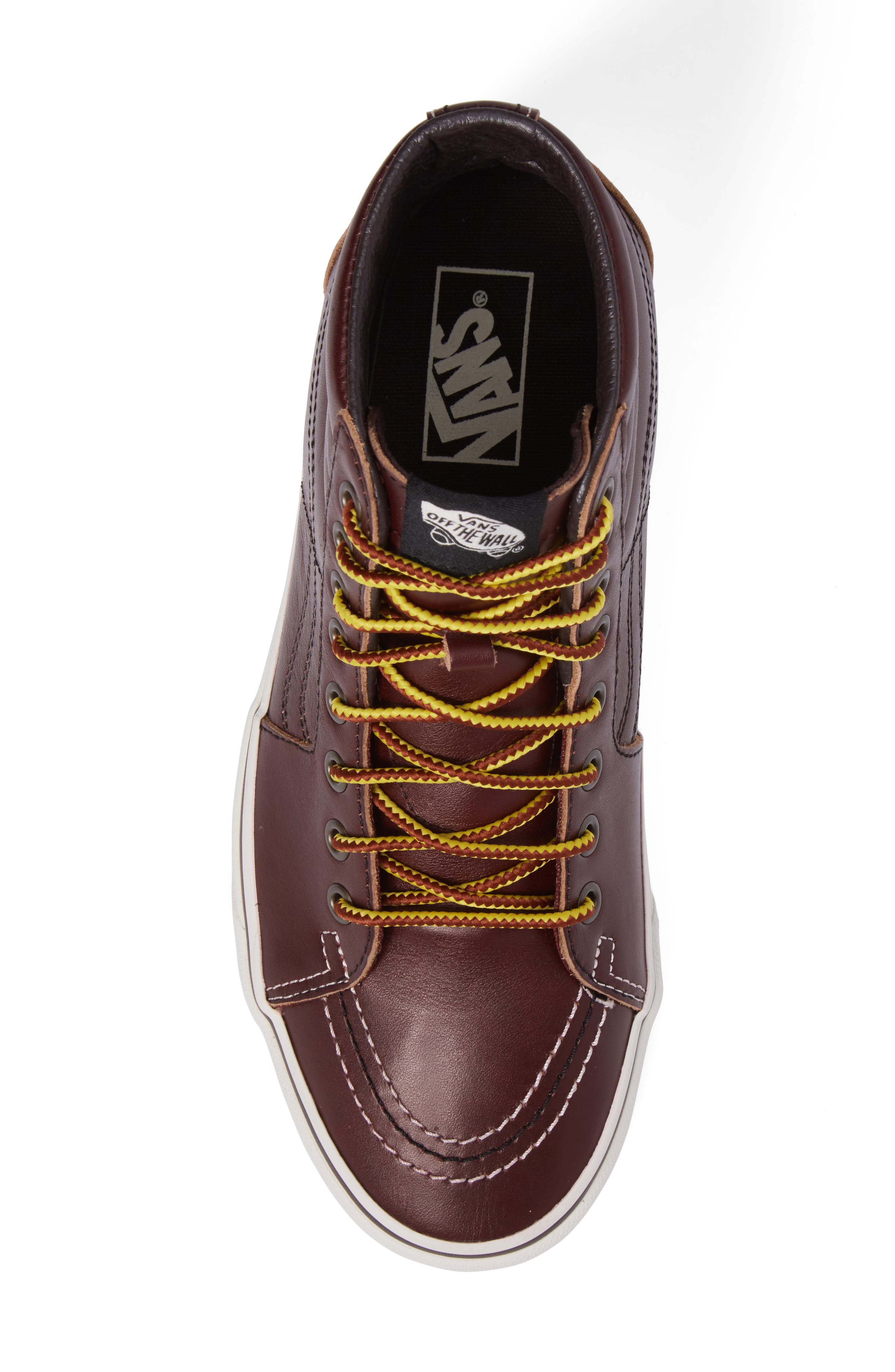 Sk8-Hi Sneaker,                             Alternate thumbnail 5, color,                             Rum Raisin/Marshmallow Leather