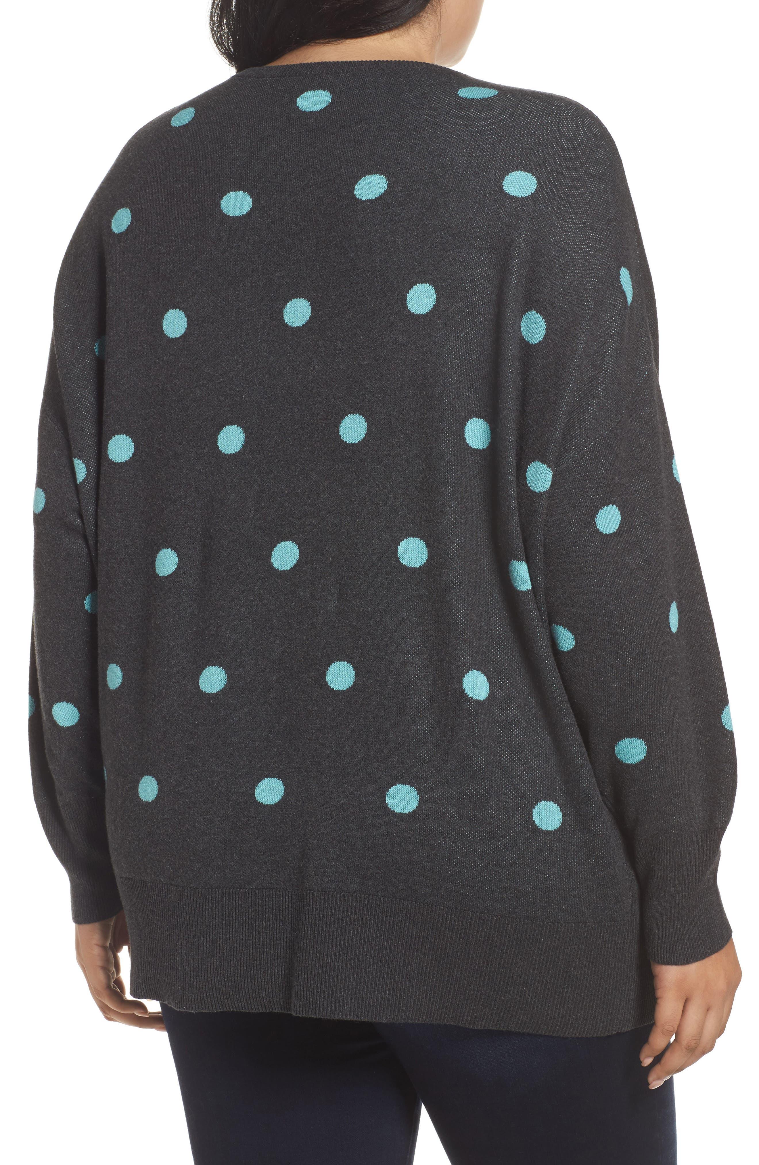 Dolman Sleeve Crewneck Sweater,                             Alternate thumbnail 2, color,                             Grey- Blue Dots Pattern