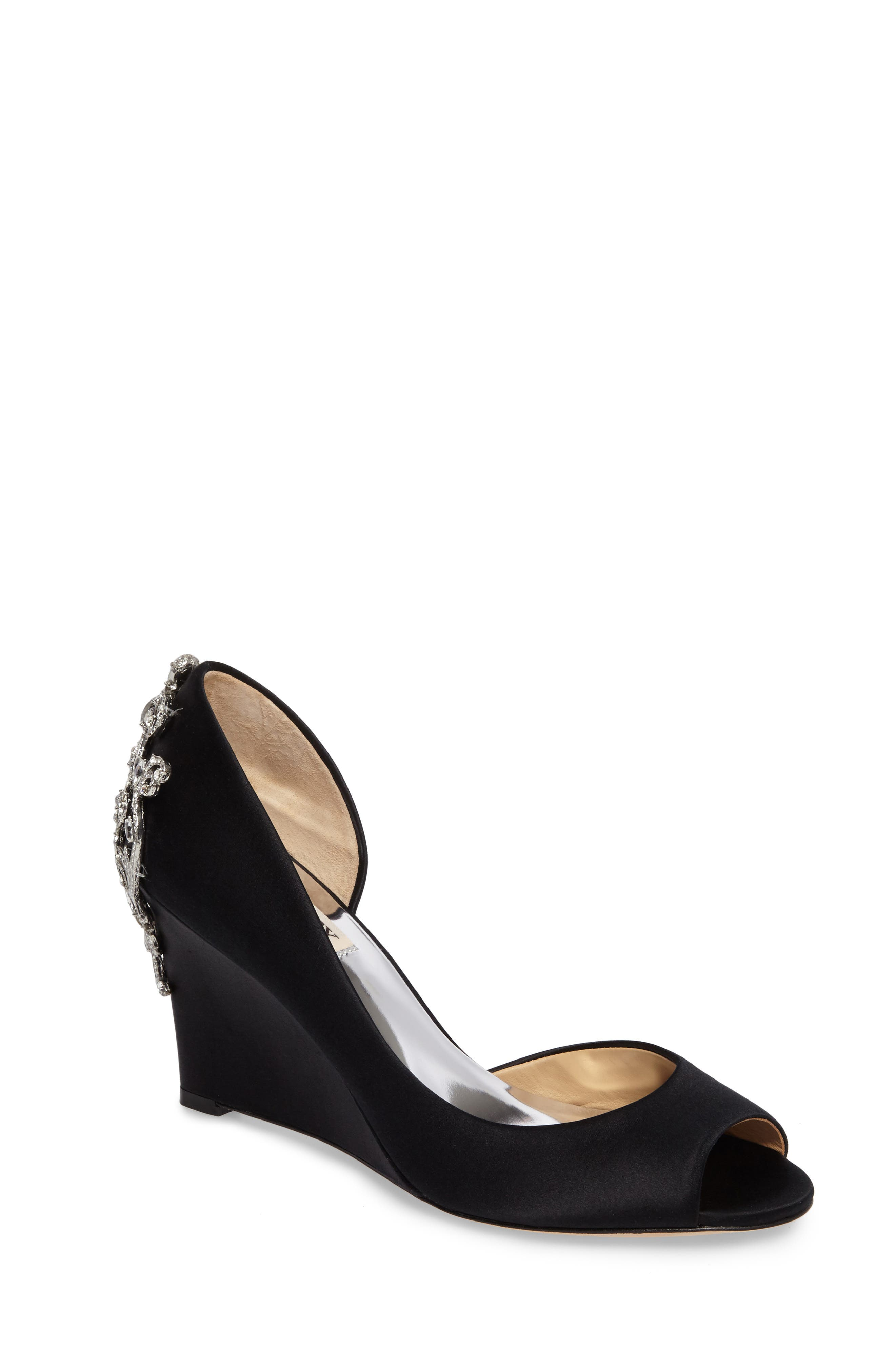 Alternate Image 1 Selected - Badgley Mischka Meagan Embellished Peep Toe Wedge (Women)