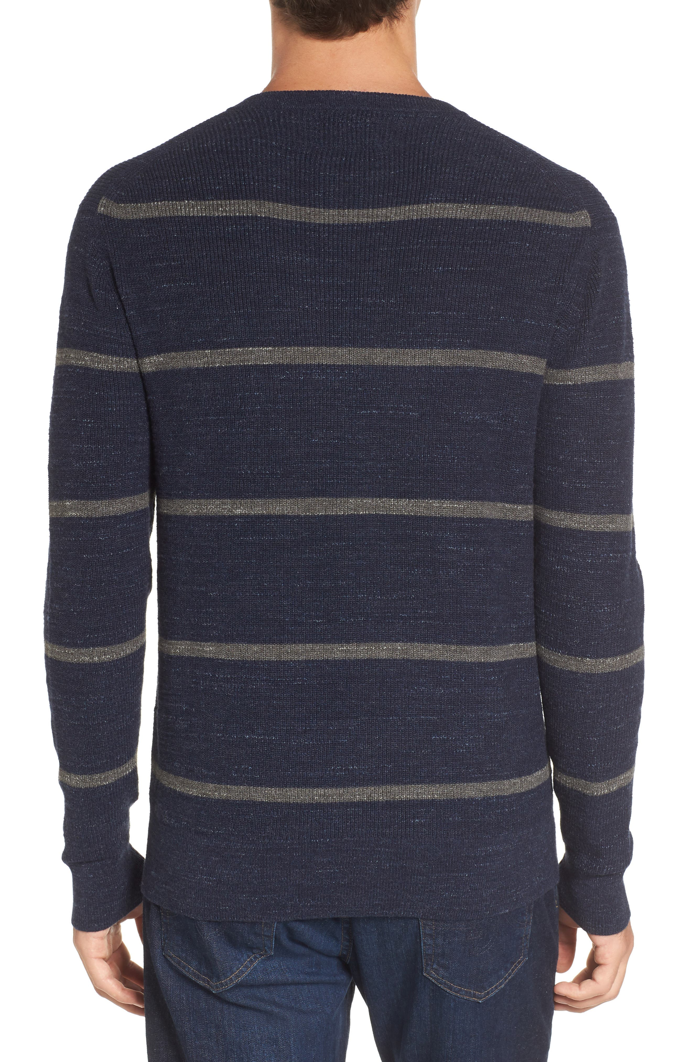 Ardsley Stripe V-Neck Sweater,                             Alternate thumbnail 2, color,                             Navy/Light Charcoal