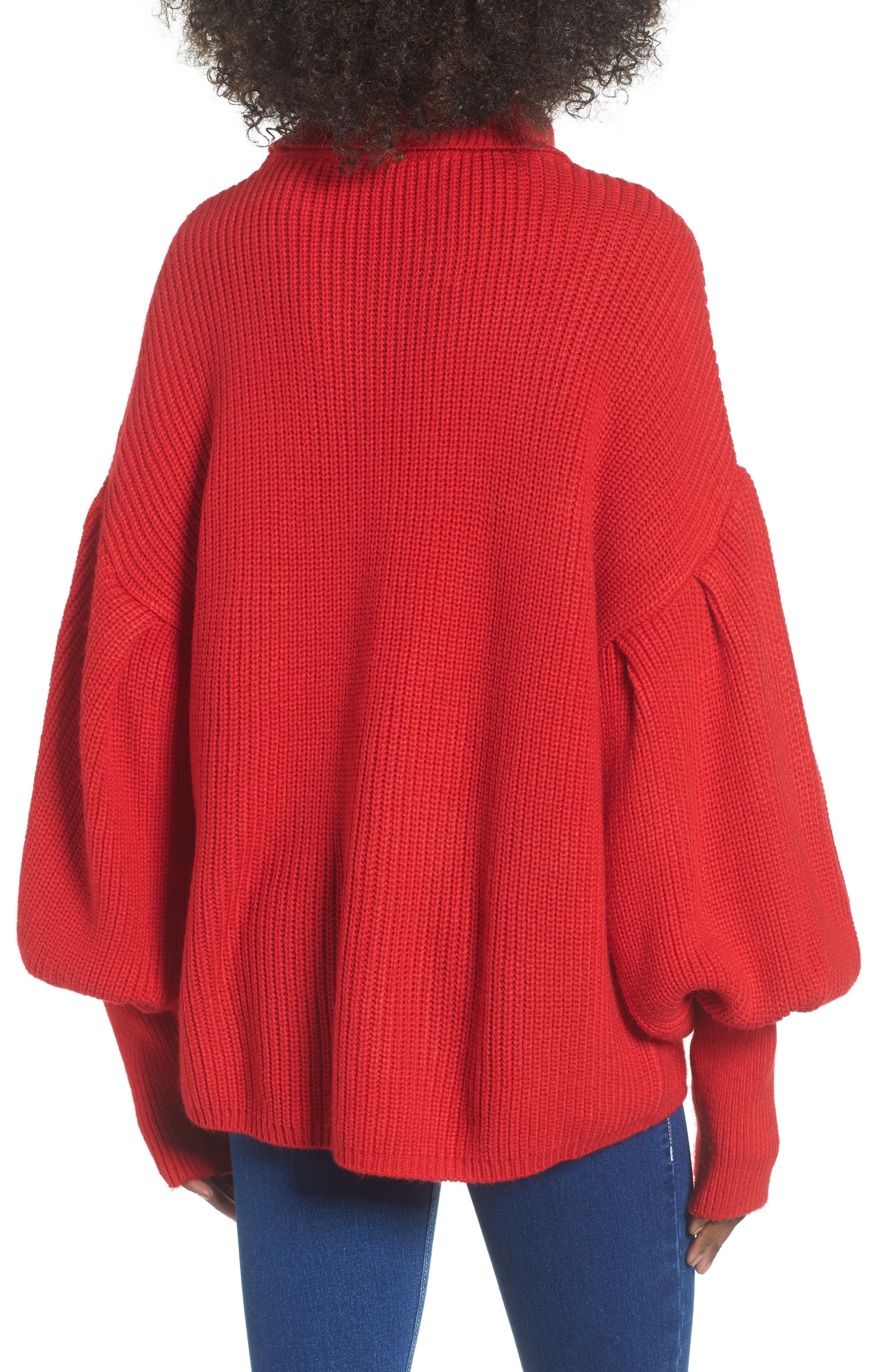 Balloon Sleeve Turtleneck Sweater,                             Alternate thumbnail 4, color,                             Red