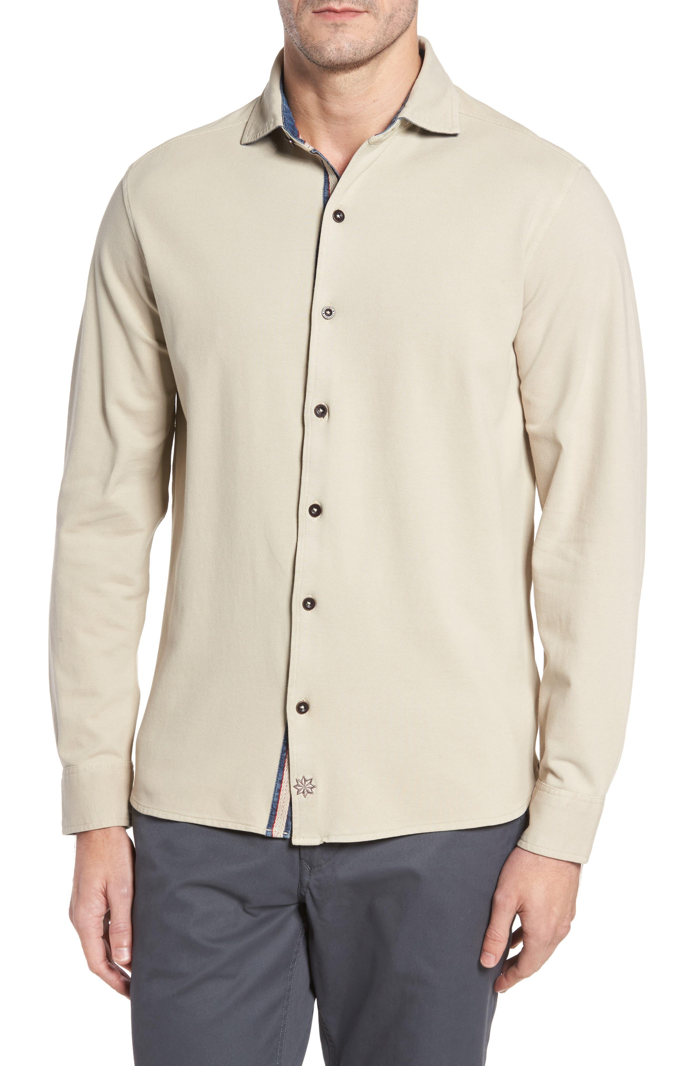 Shively Piqué Knit Sport Shirt,                         Main,                         color, Stone
