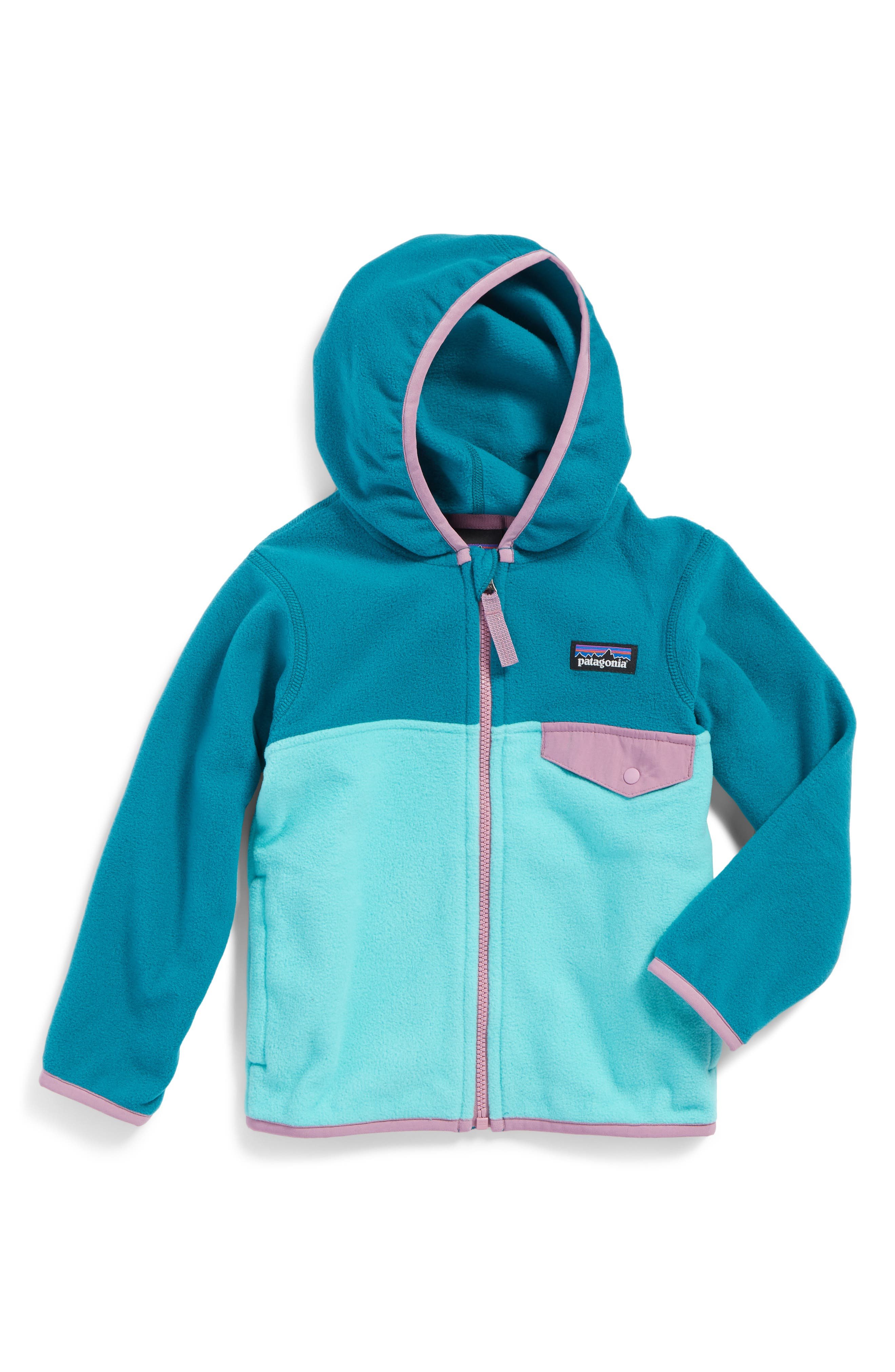 Patagonia 'Micro D® Snap-T®' Hooded Fleece Jacket (Toddler Girls & Little Girls)