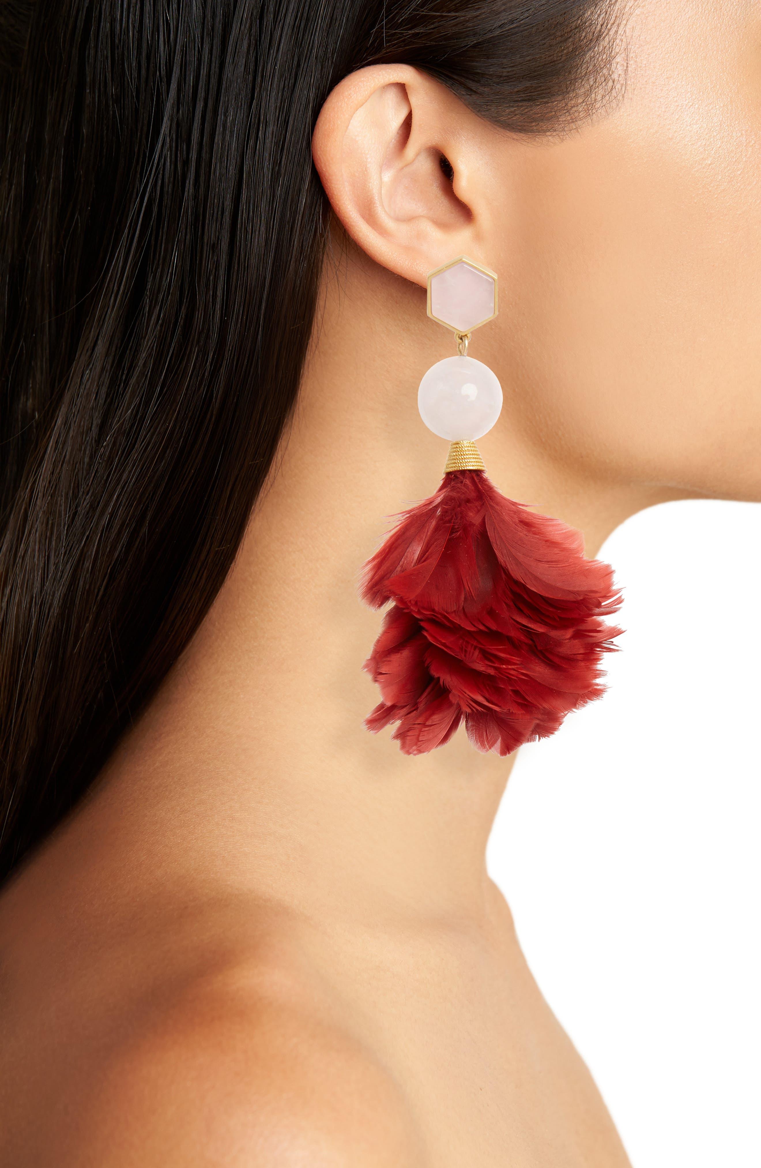 Feather Drop Earrings,                             Alternate thumbnail 2, color,                             Tuscan Wine / Pink Quartz