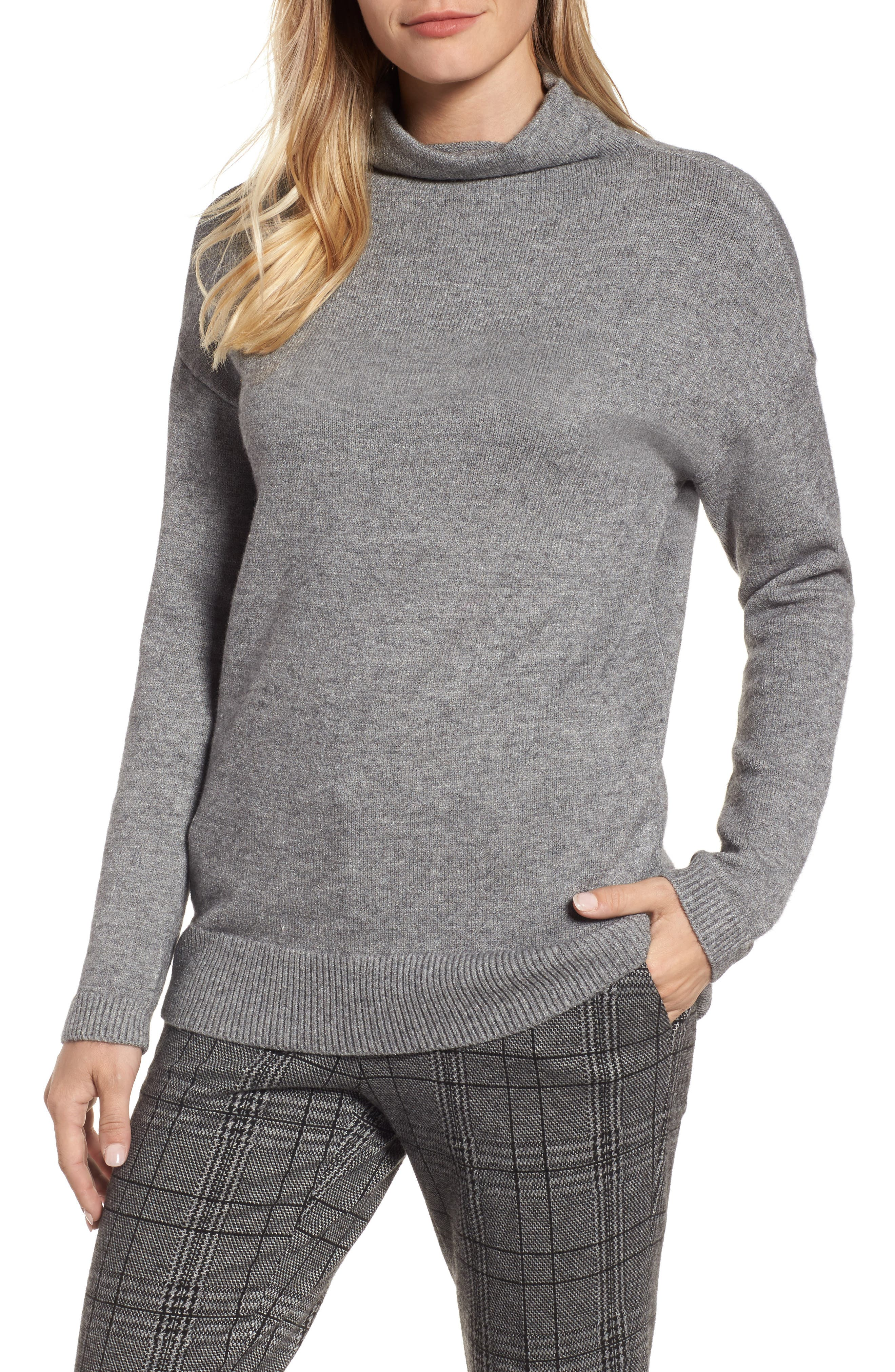 RD Style Funnel Neck Sweater,                         Main,                         color, Grey