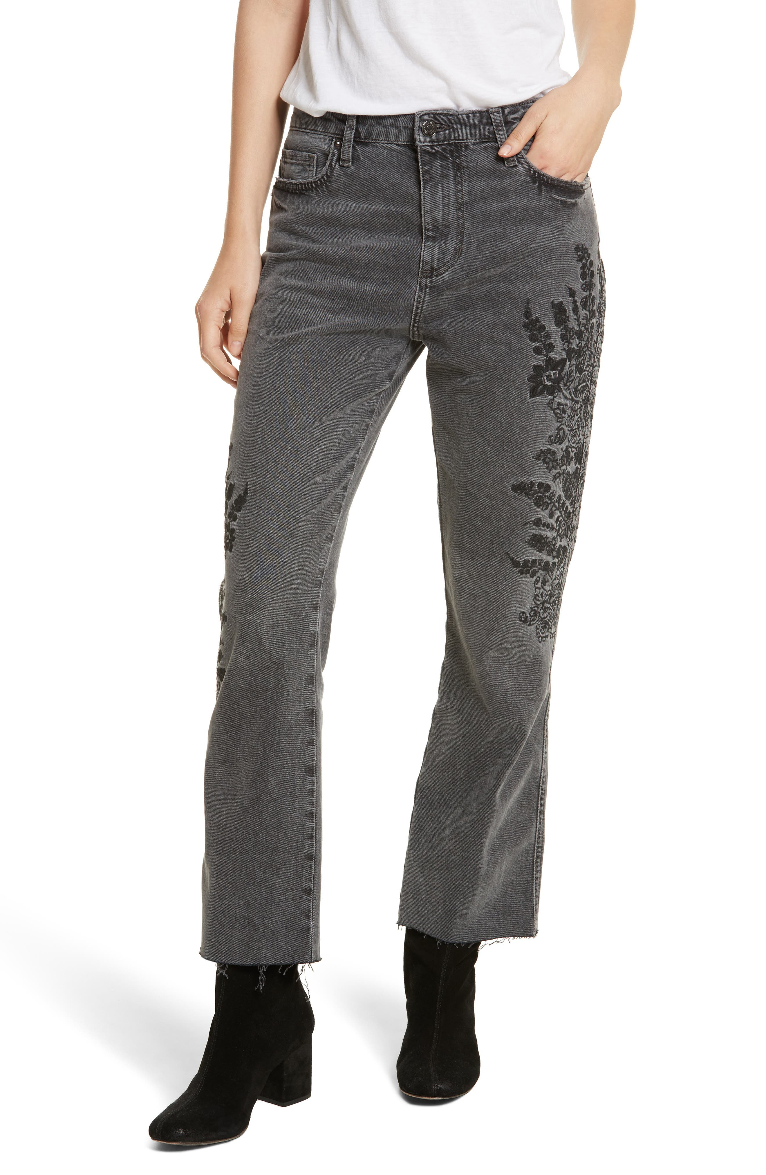 Embroidered Crop Girlfriend Jeans,                         Main,                         color, Grey