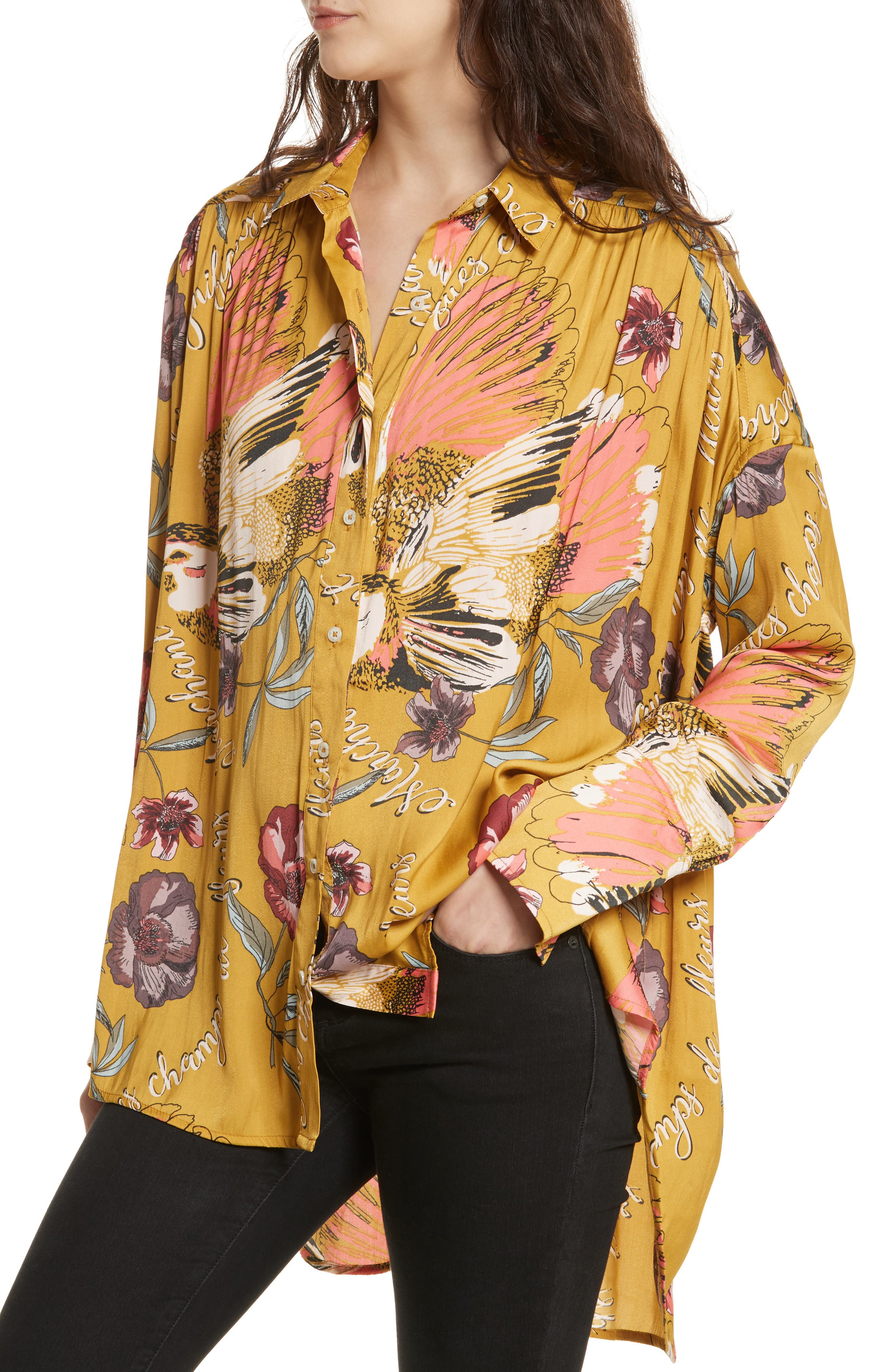 Silky Nights Blouse,                             Alternate thumbnail 3, color,                             Gold