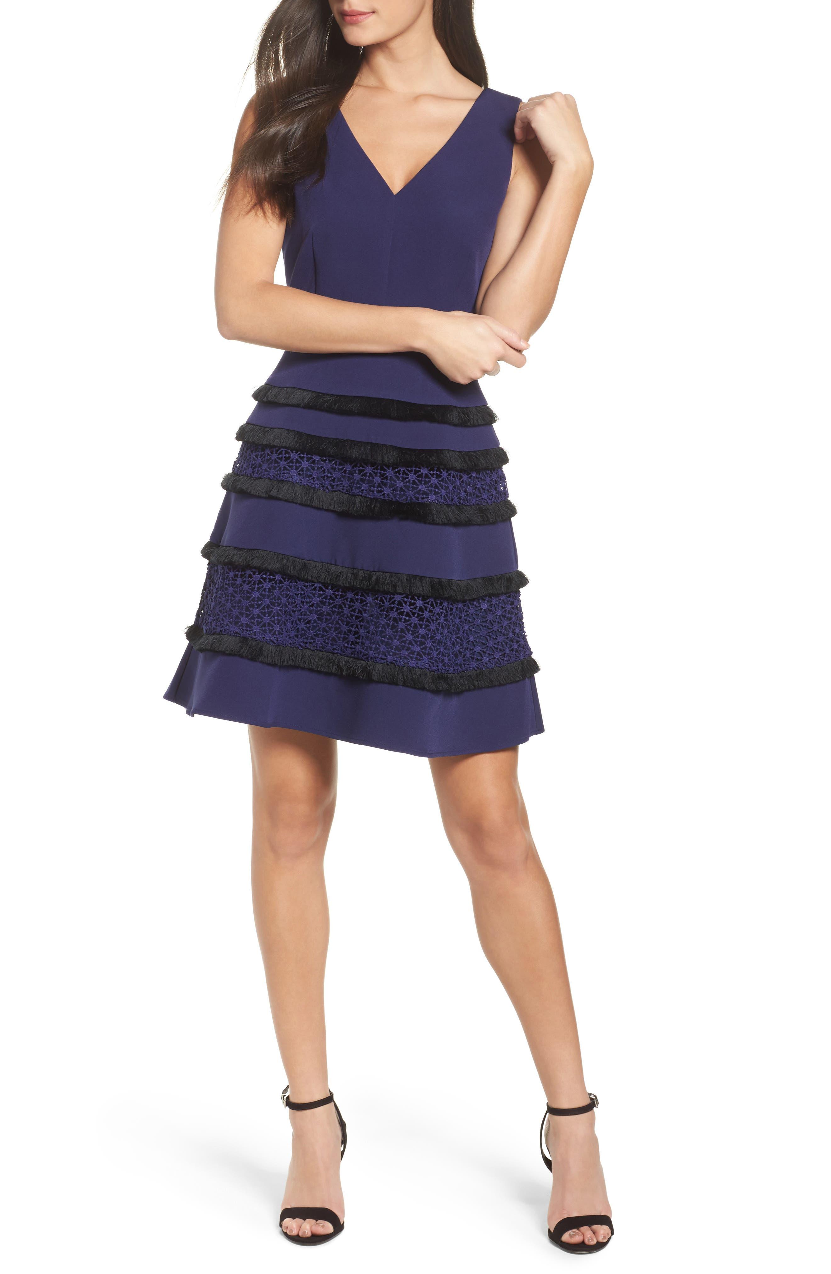 Stripe Fit & Flare Dress,                         Main,                         color, Navy/ Black