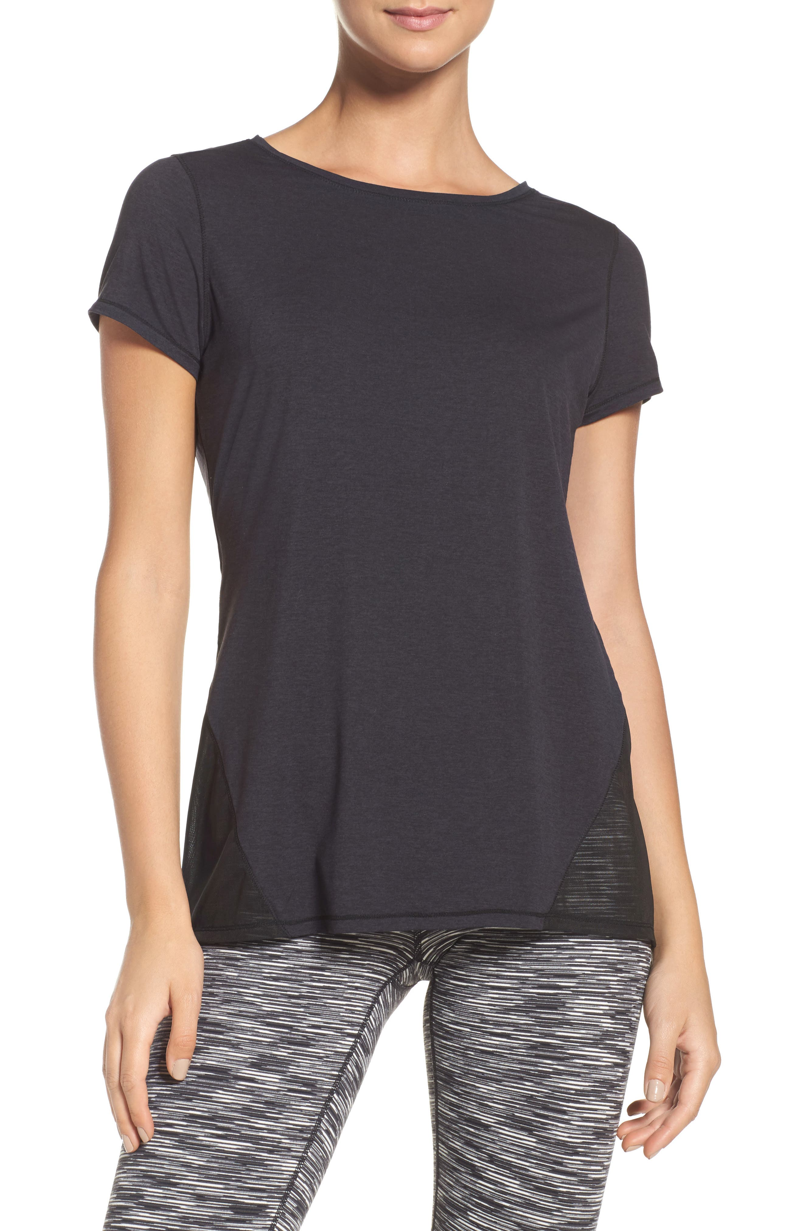 Fiona Mesh Inset Tee,                             Main thumbnail 1, color,                             Black