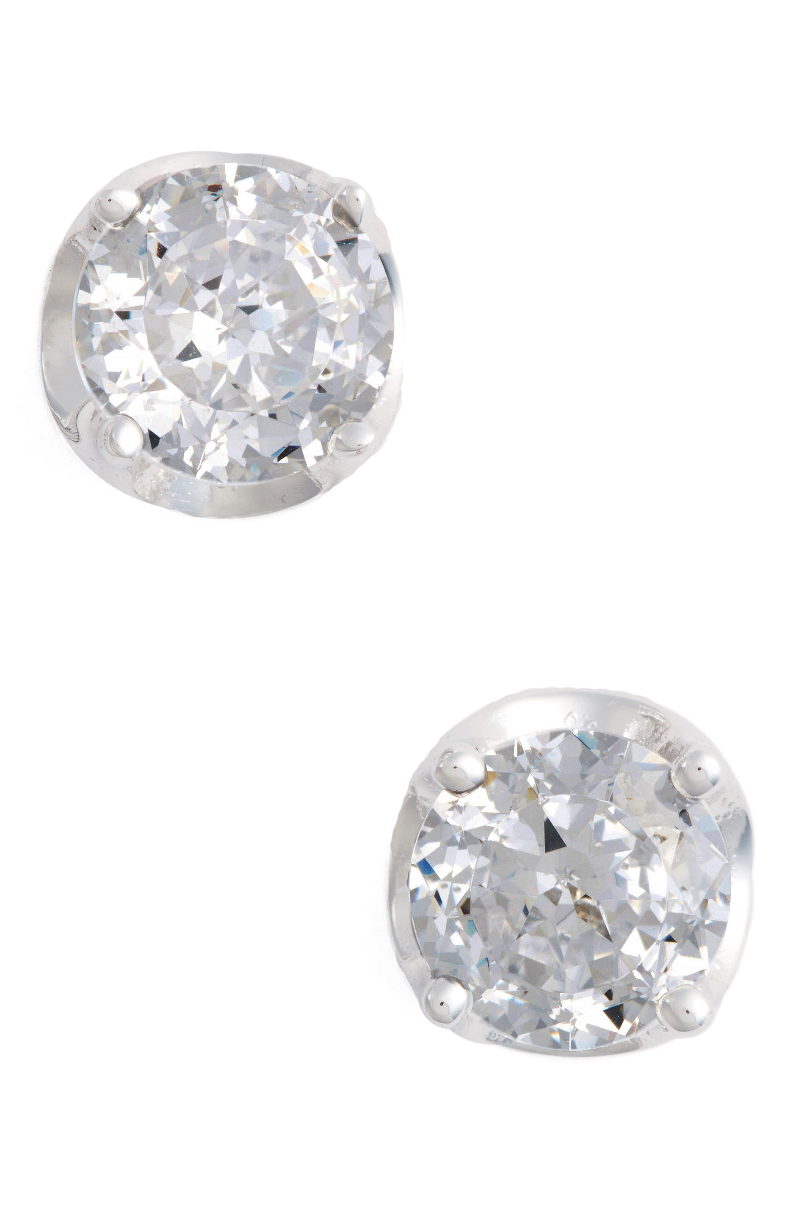 Simulated Diamond Stud Earrings,                         Main,                         color, Silver/ Clear