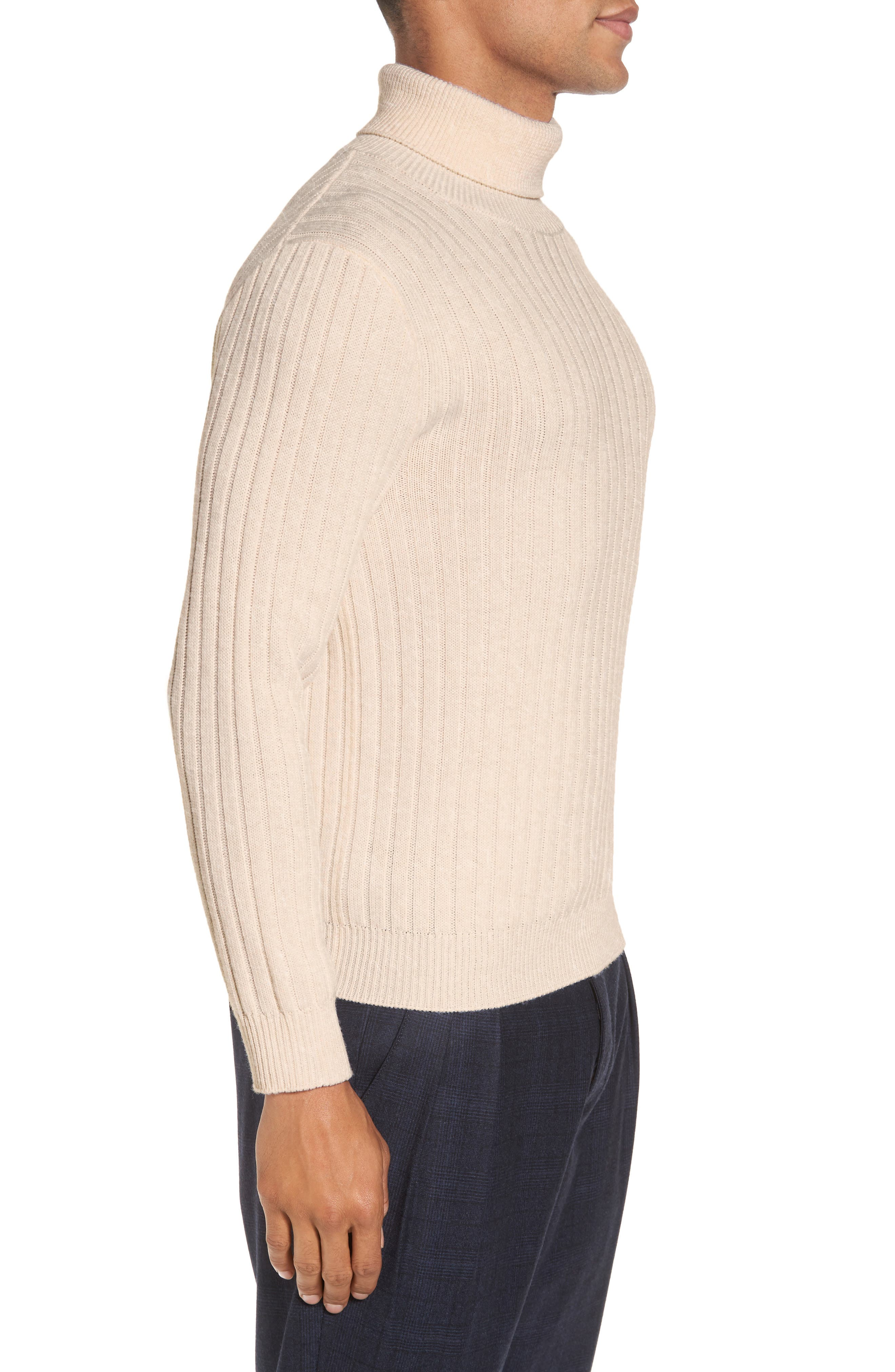 Ribbed Turtleneck Wool Sweater,                             Alternate thumbnail 4, color,                             Cream