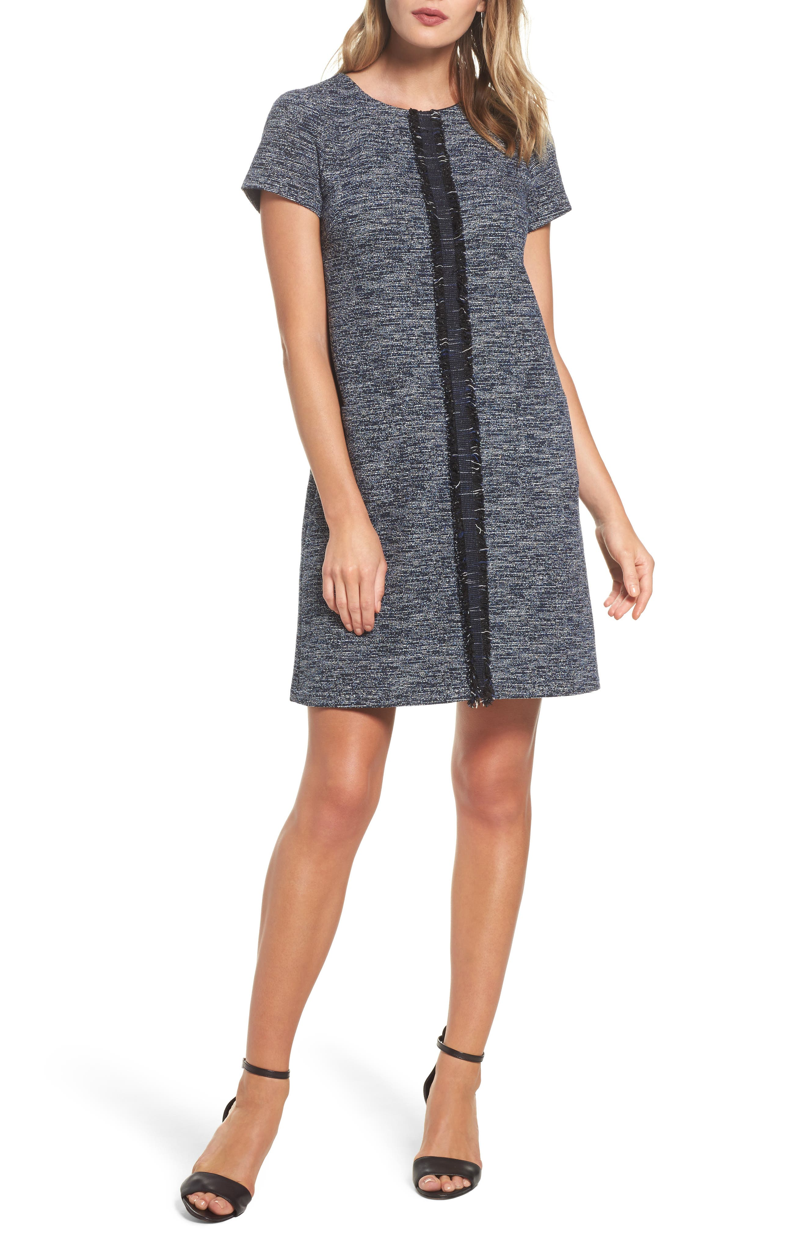 Knit Tweed Shift Dress,                         Main,                         color, Navy Multi
