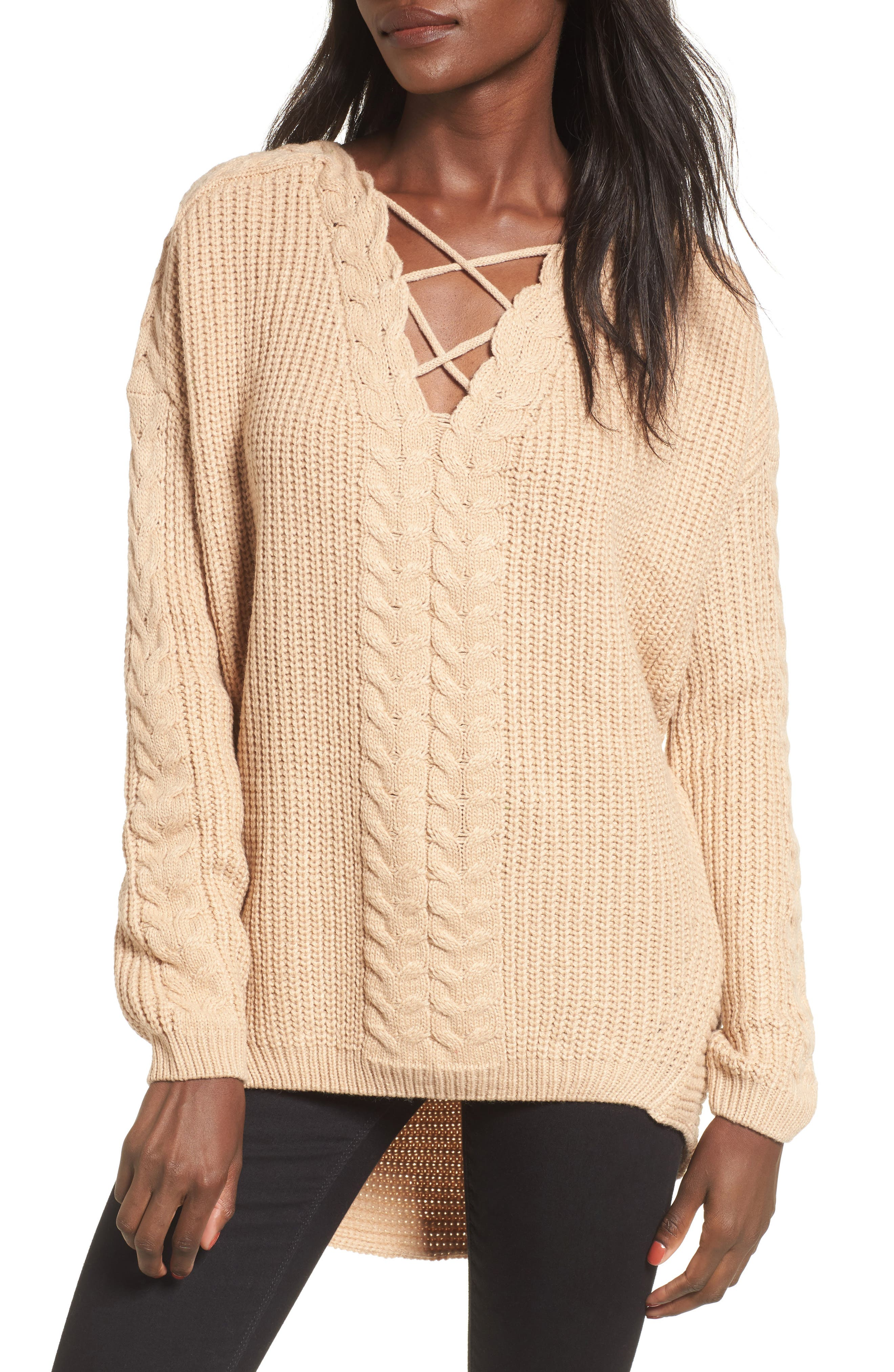 Love by Design Cross Front Braided Sweater