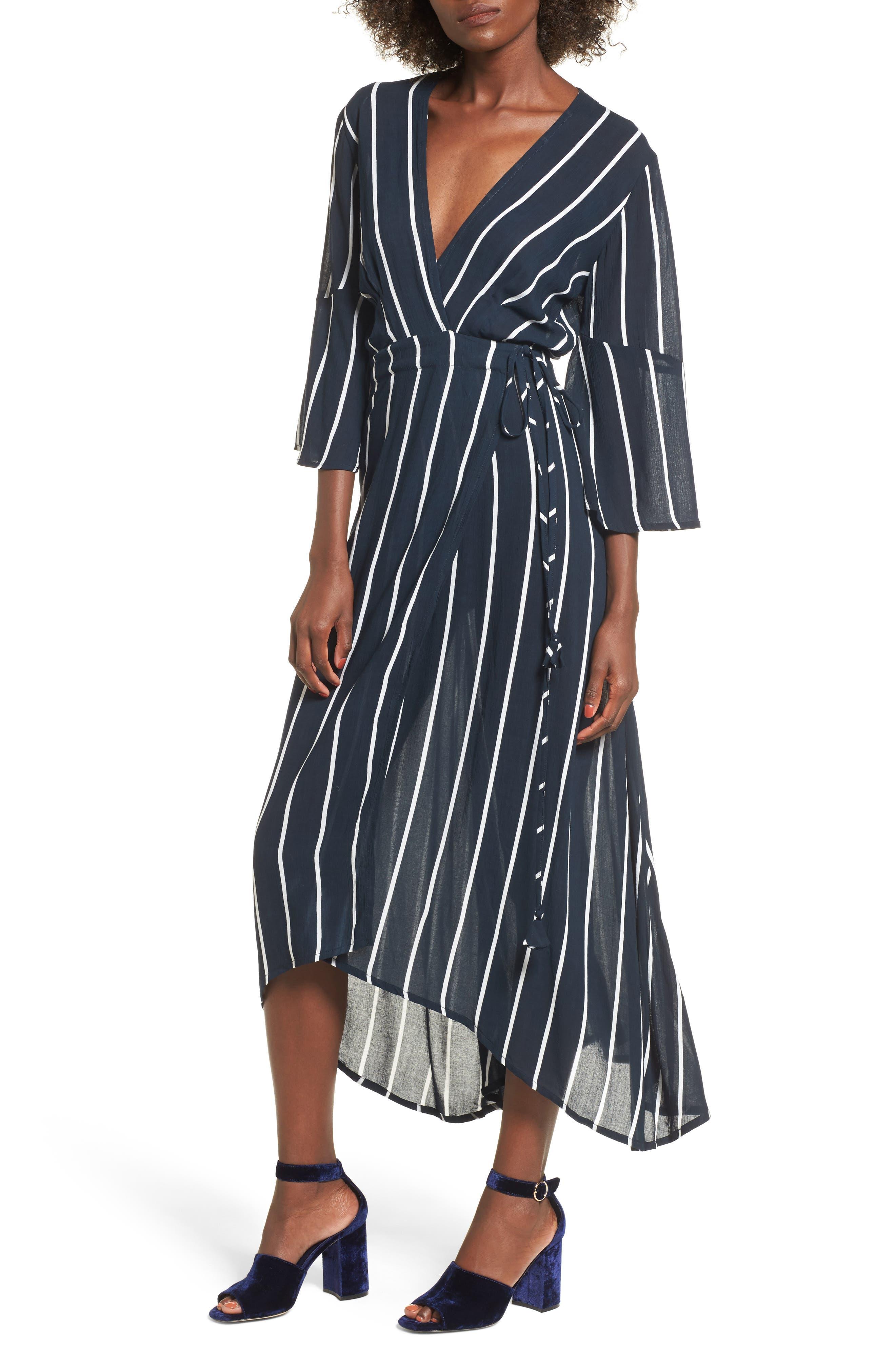 Amour Wrap Dress,                         Main,                         color, Winston Stripe Print