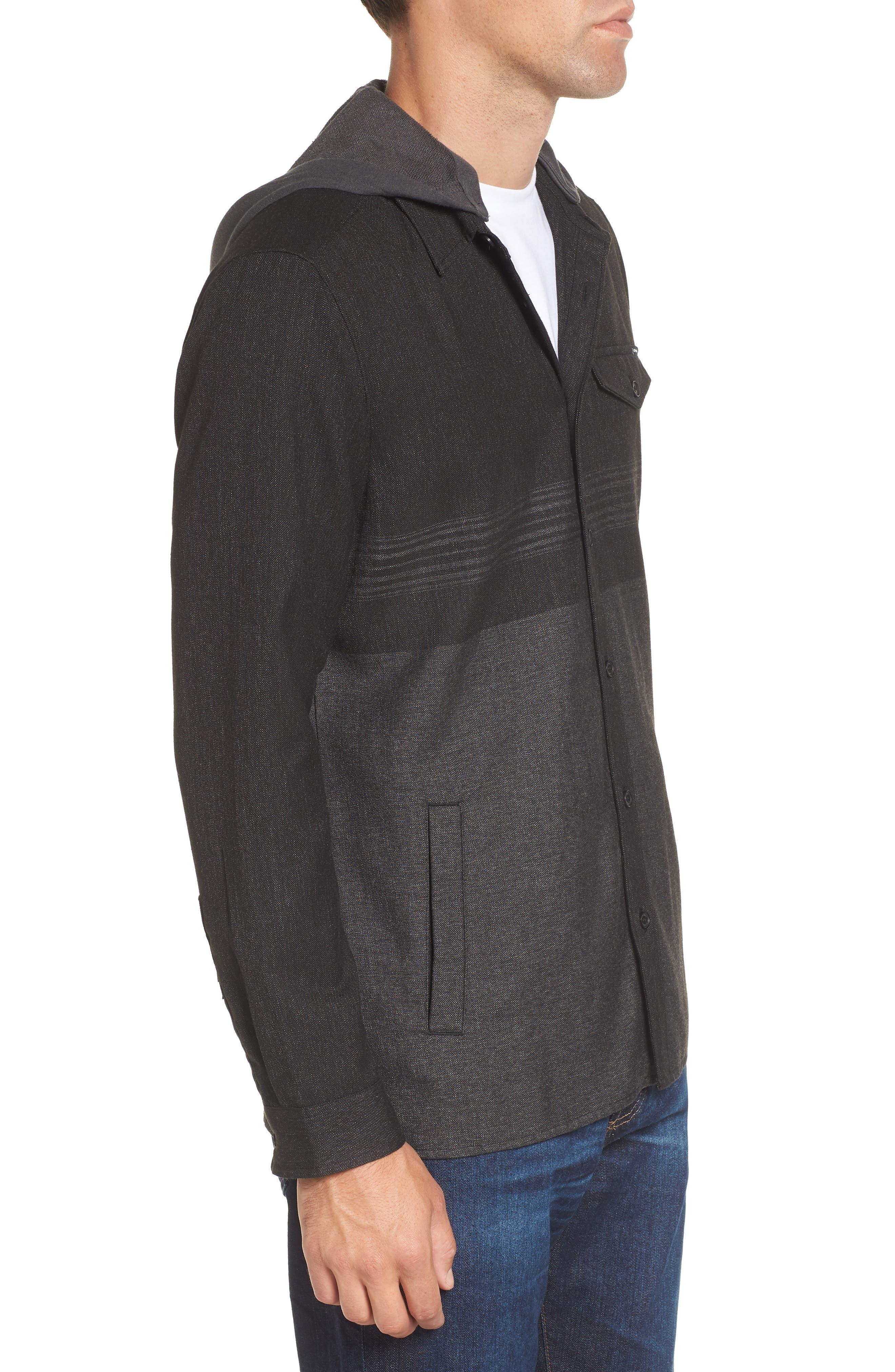Jacinto Hooded Flannel Shirt,                             Alternate thumbnail 3, color,                             Black