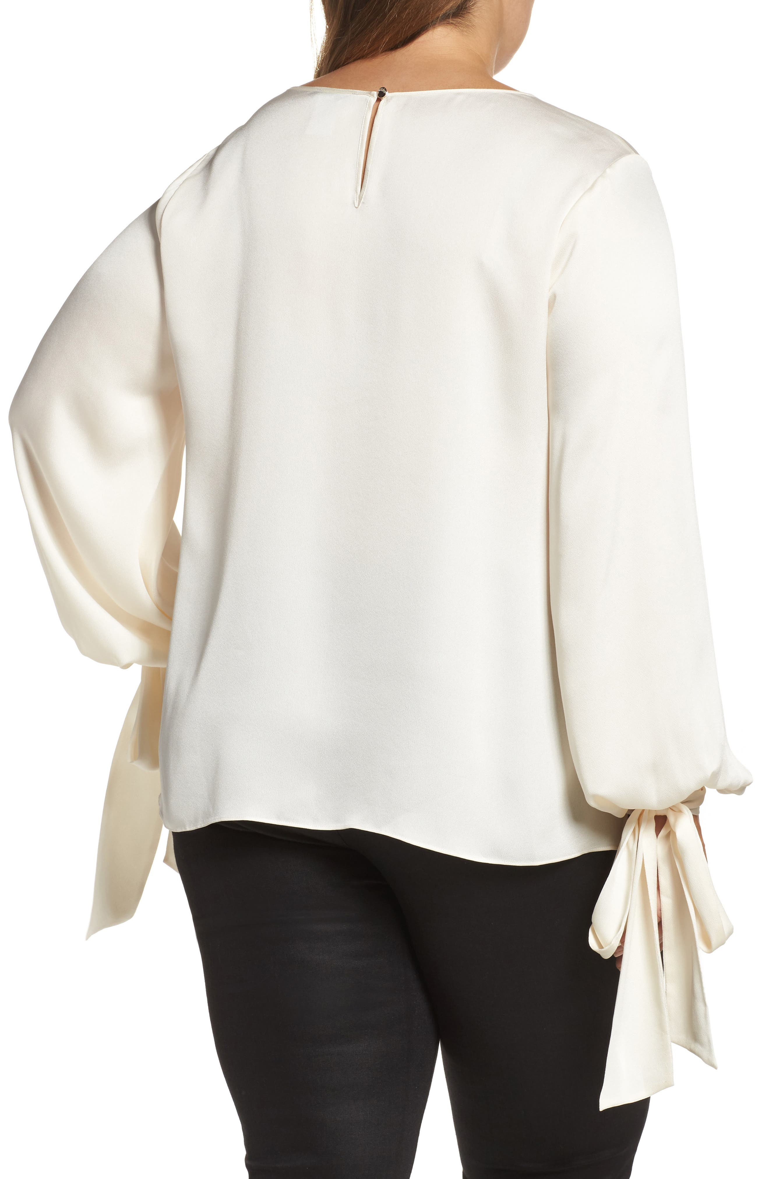 Tie Cuff Bubble Sleeve Blouse,                             Alternate thumbnail 2, color,                             Pearl Ivory