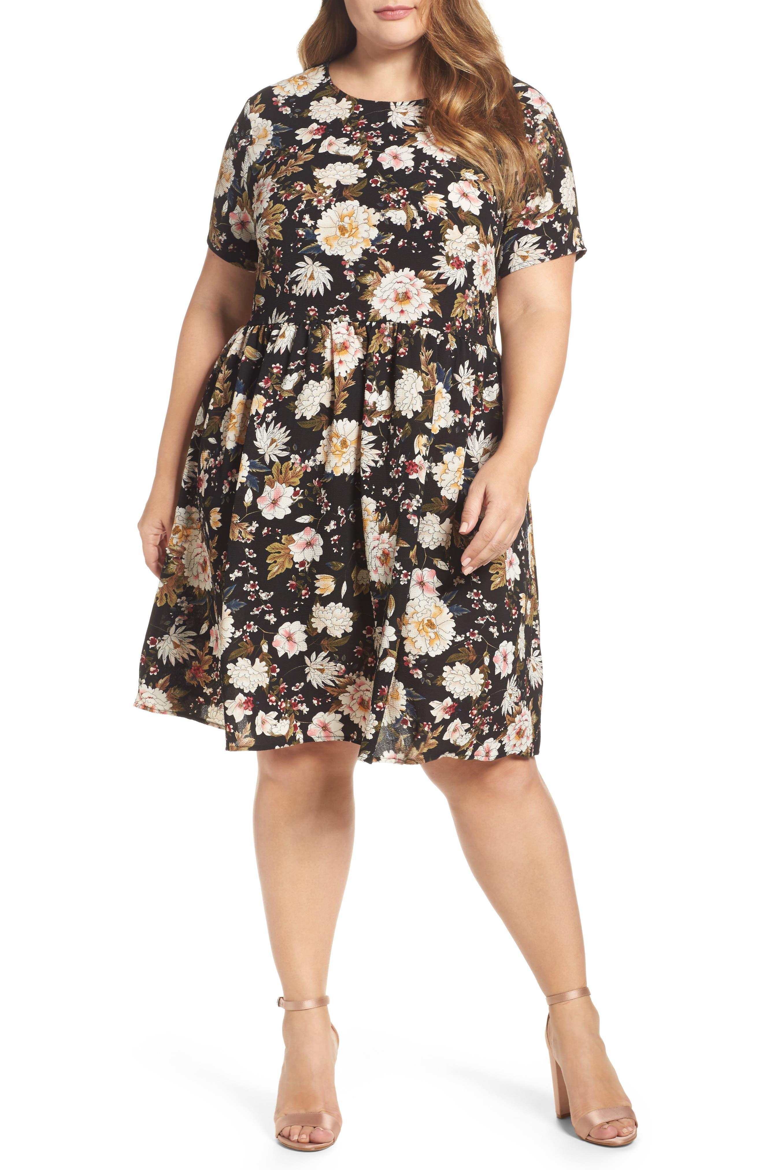 Main Image - Glamorous Empire Waist Floral Print Dress (Plus Size)