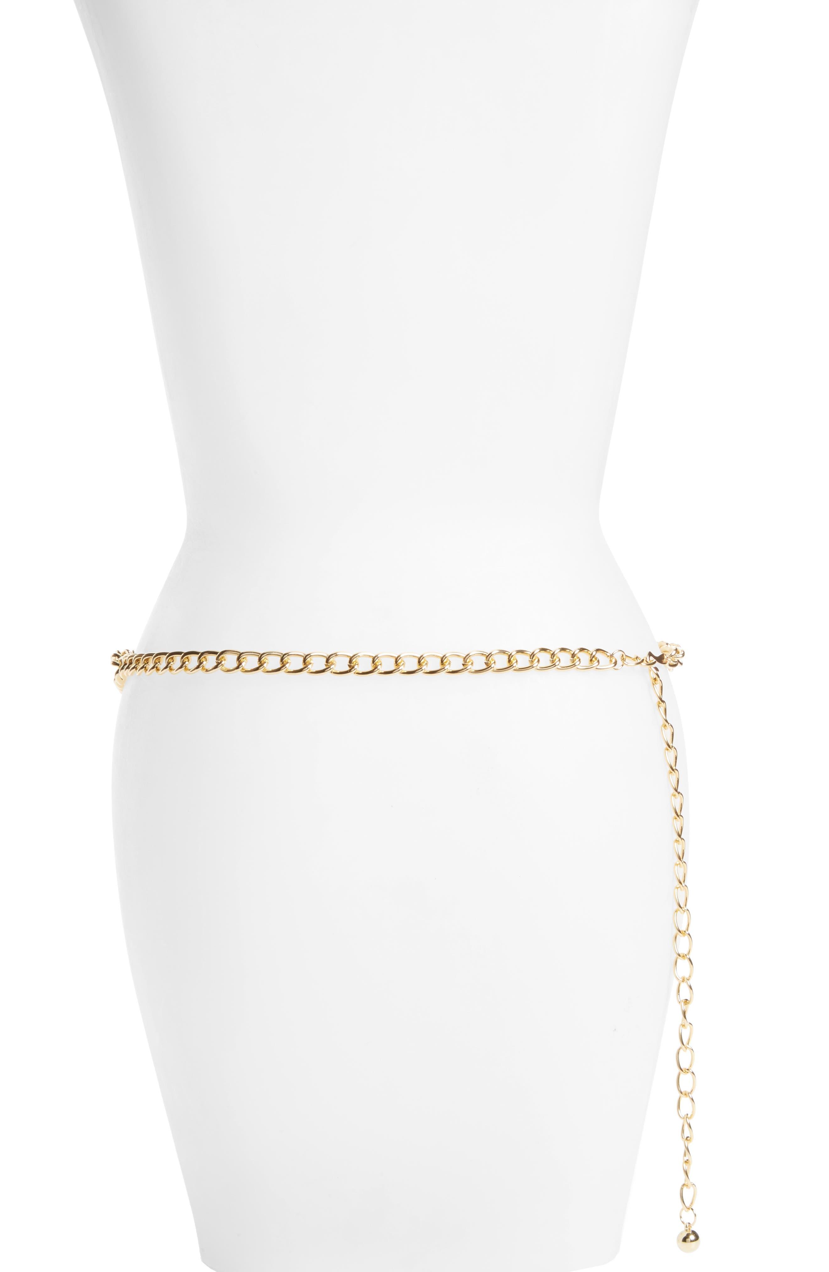Bar Chain Belt,                             Alternate thumbnail 2, color,                             Gold