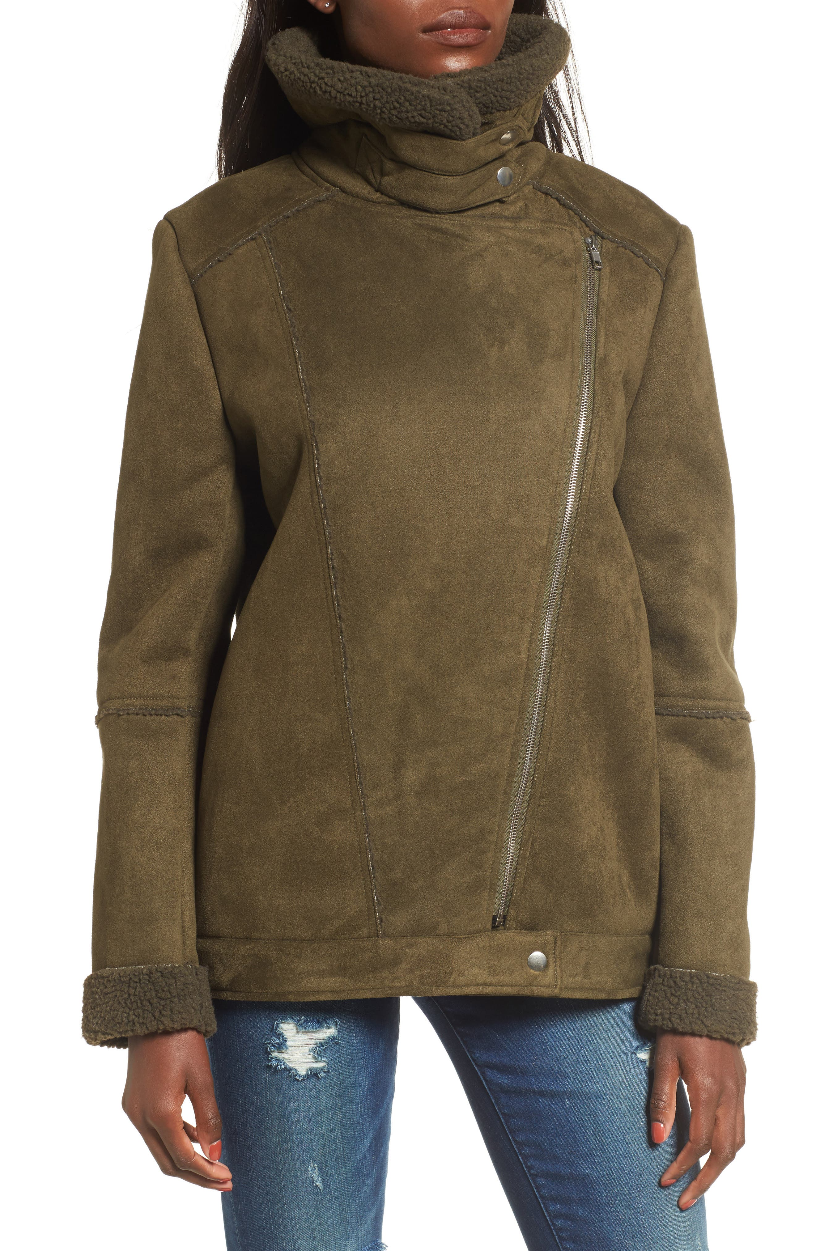 Dallas Faux Shearling Jacket,                             Alternate thumbnail 3, color,                             Olive