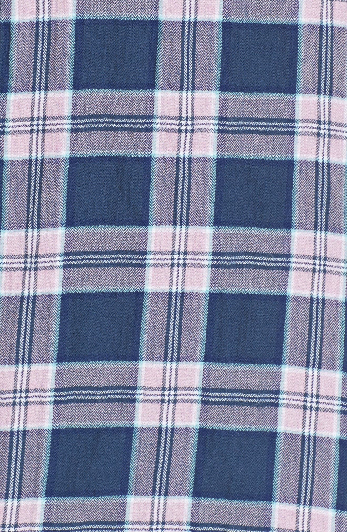 Riviera Slim Fit Plaid Woven Shirt,                             Alternate thumbnail 5, color,                             Crinkle Blue Pine Plaid