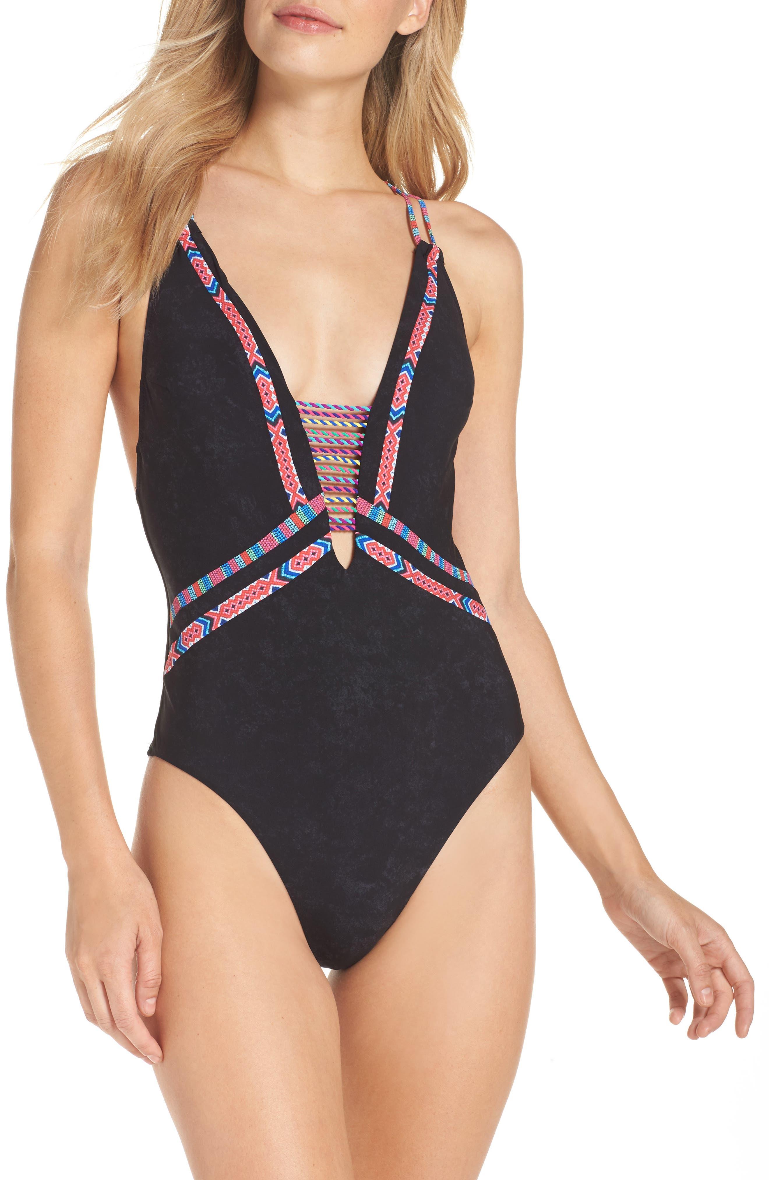 Cha Cha Cha Goddess One-Piece Swimsuit,                         Main,                         color, Black