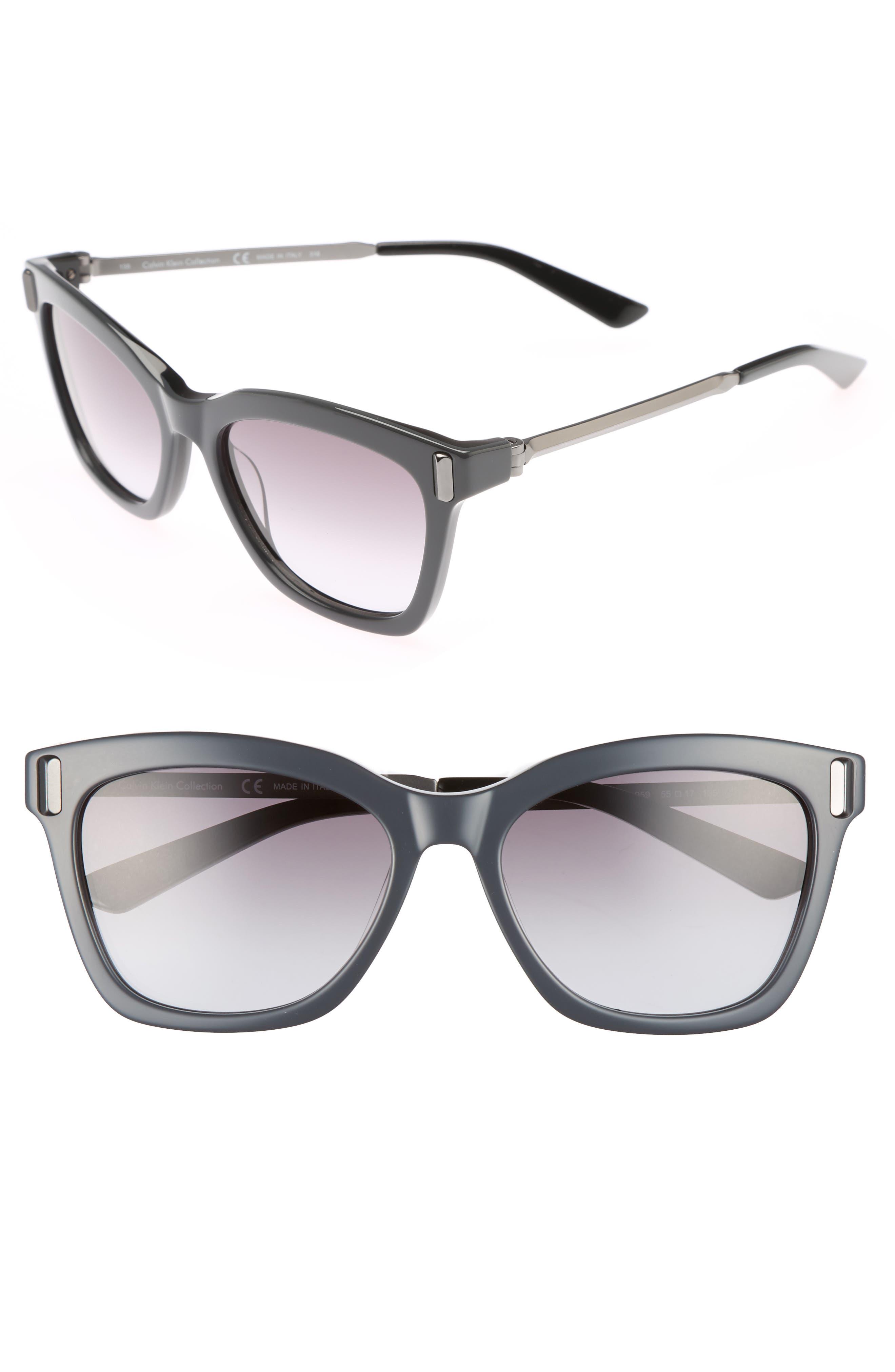 55mm Square Sunglasses,                             Main thumbnail 1, color,                             Jet/ Black